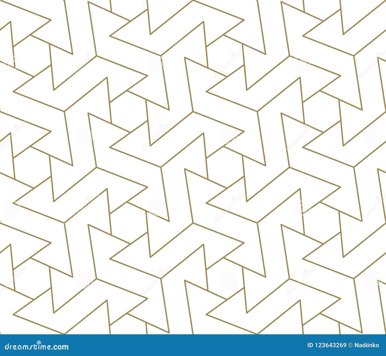Sömlös modell för modern enkel geometrisk vektor med den guld- linjen textur på vit bakgrund Ljus abstrakt tapet