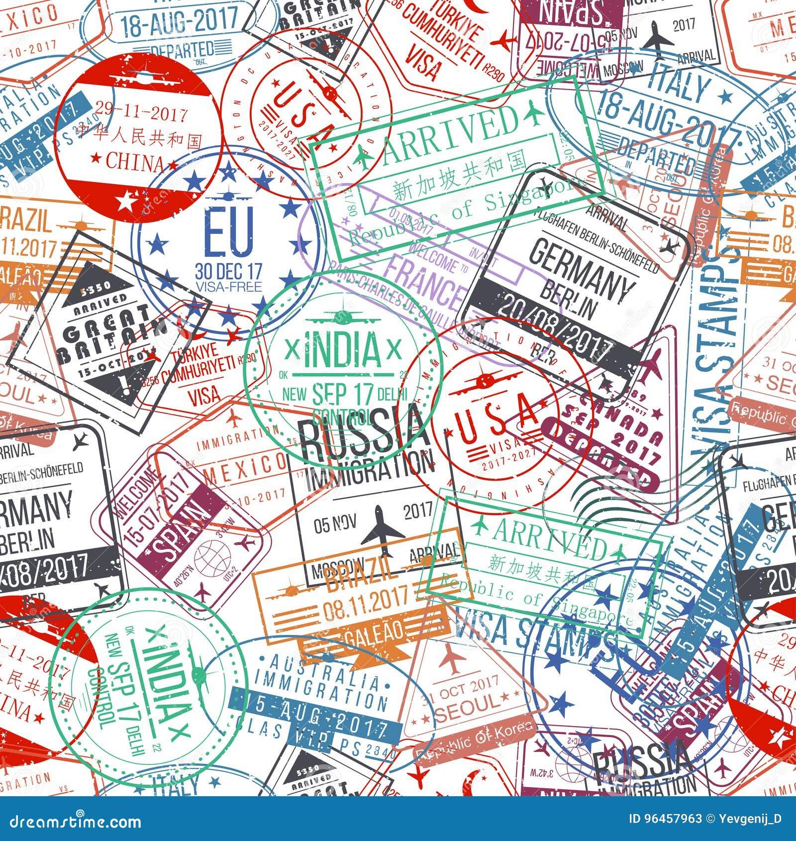 Sömlös modell för passstämpel Internationellt ankomstteckengummi, visumstämplar