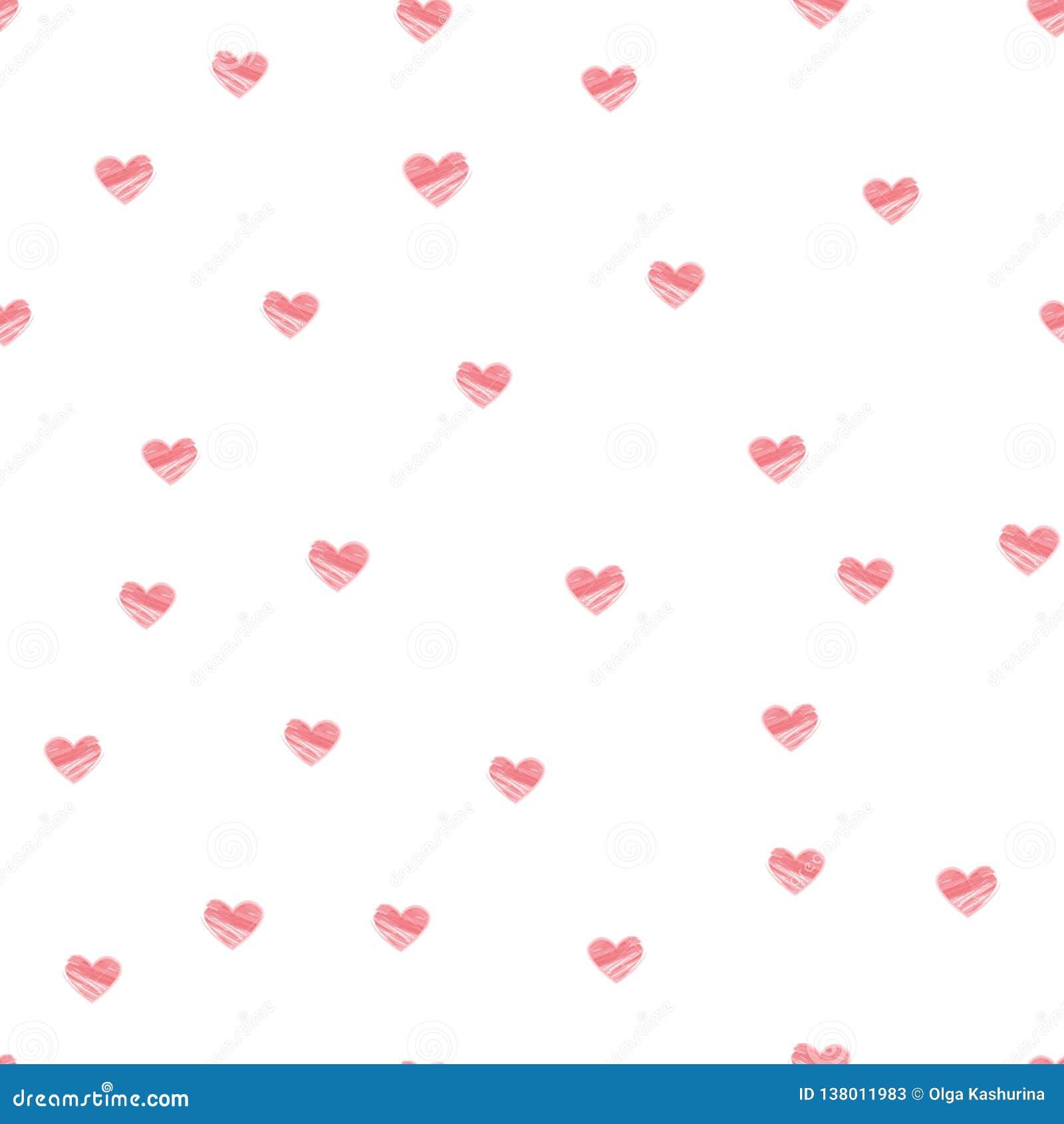 Sömlös modell för pastellfärgad hjärta på vit bakgrund - vektor