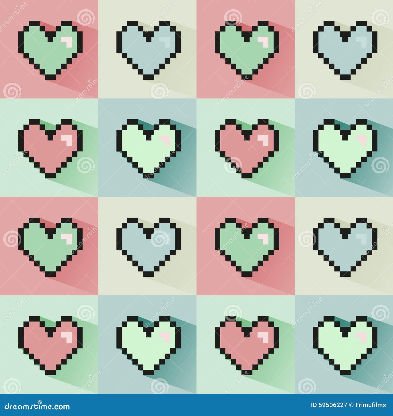Sömlös modell för Pixelated hjärtor