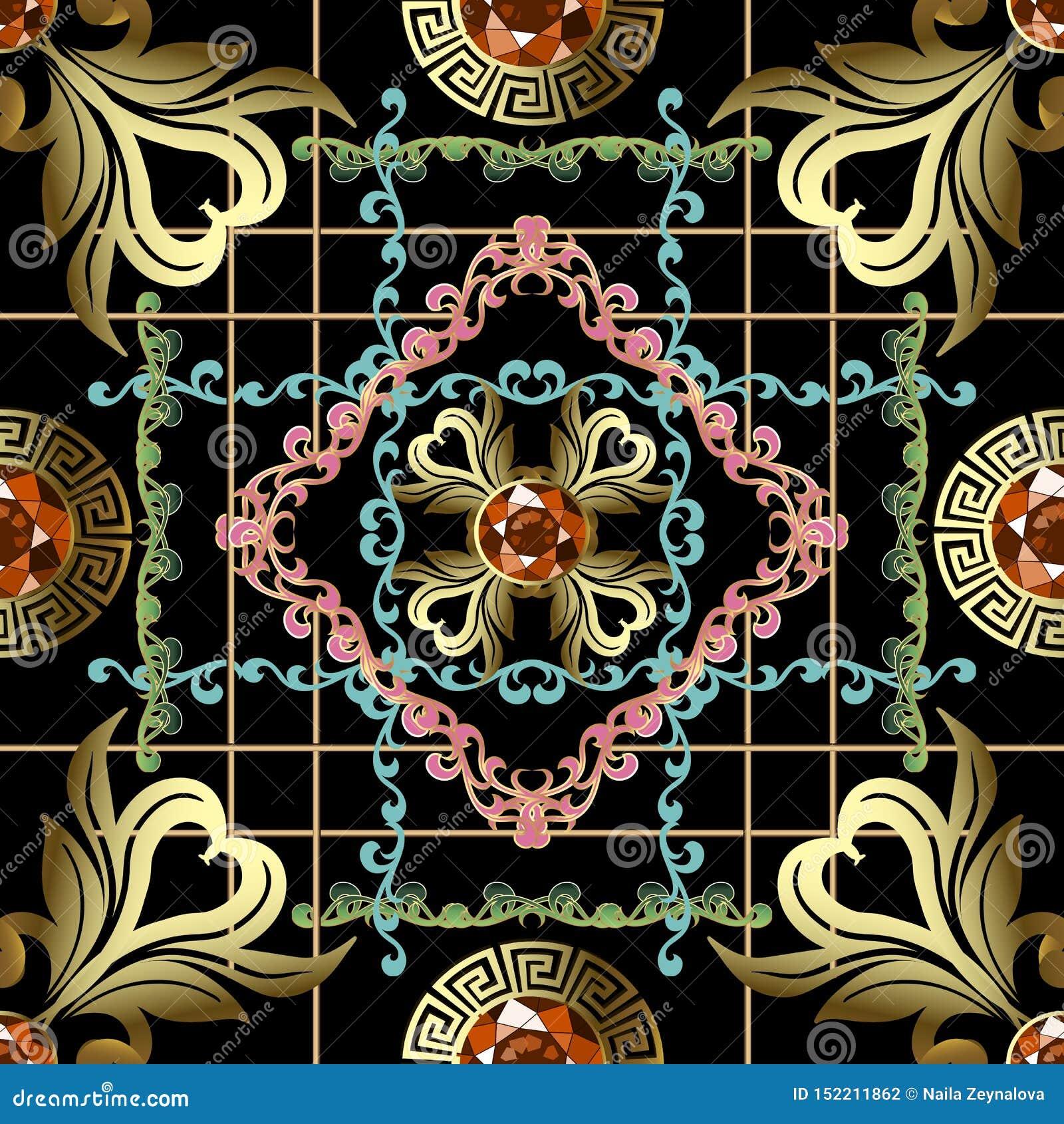 Sömlös modell för randig för stilgrek för tappning barock vektor Dekorativ geometrisk bakgrund för smycken Blom- bakgrund f?r rep