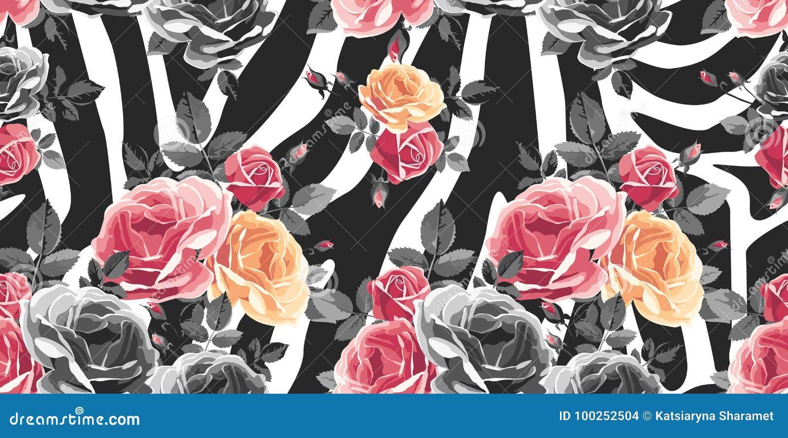 Sömlös modell för rosor på sebrabakgrund Djurabstrakt begrepptryck
