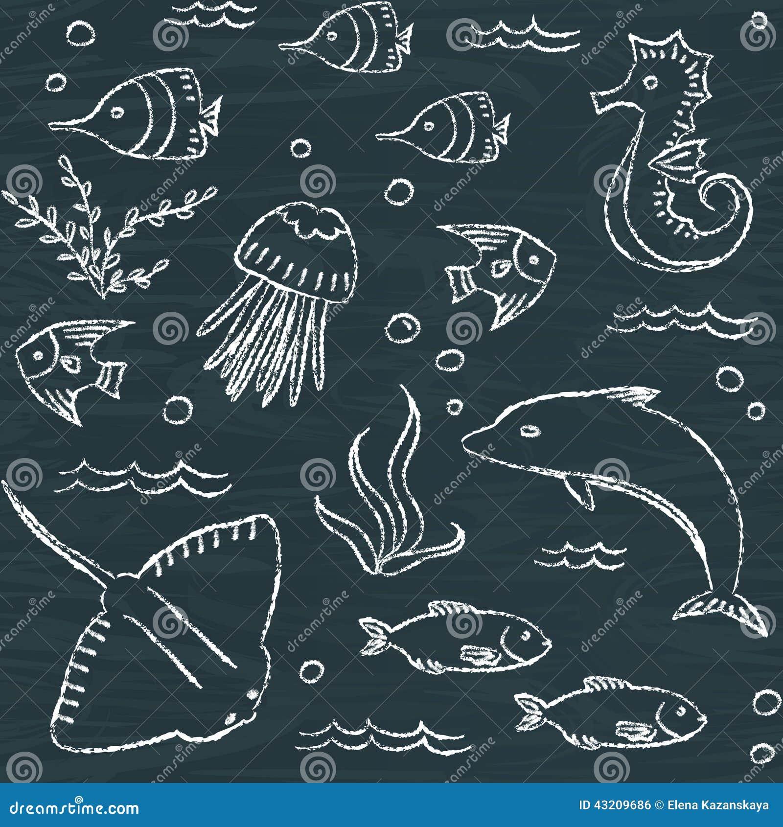 Download Sömlös Modell För Sealife Svart Tavla Vektor Illustrationer - Illustration av björnbär, klotter: 43209686