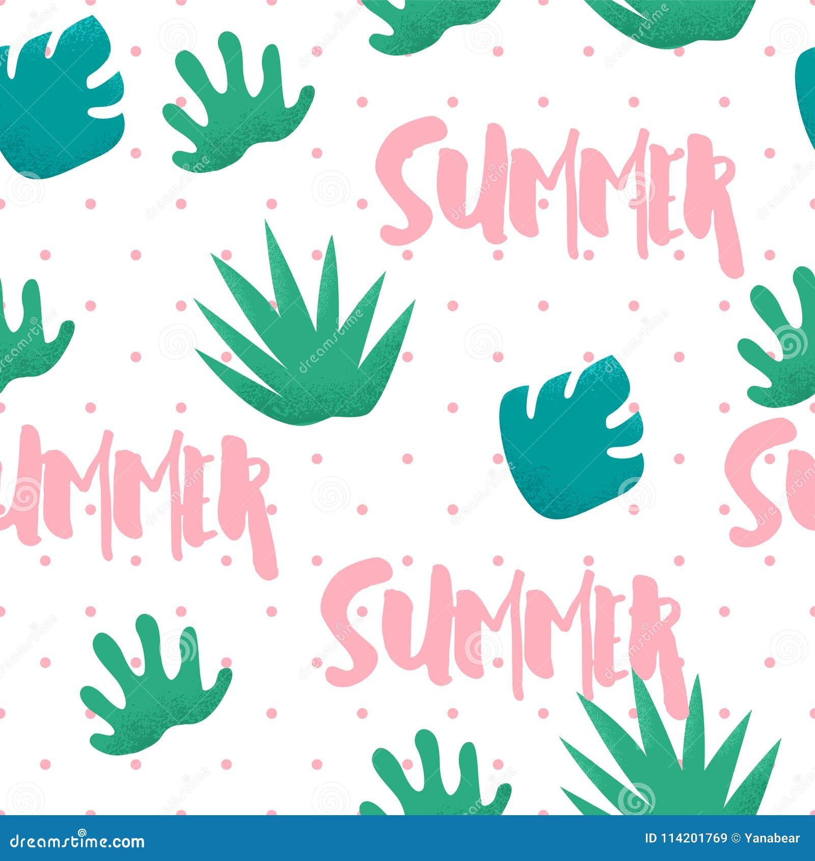 Sömlös modell för sommar i prick med tropiska växter och text på vit bakgrund Prydnad för textil och inpackning vektor