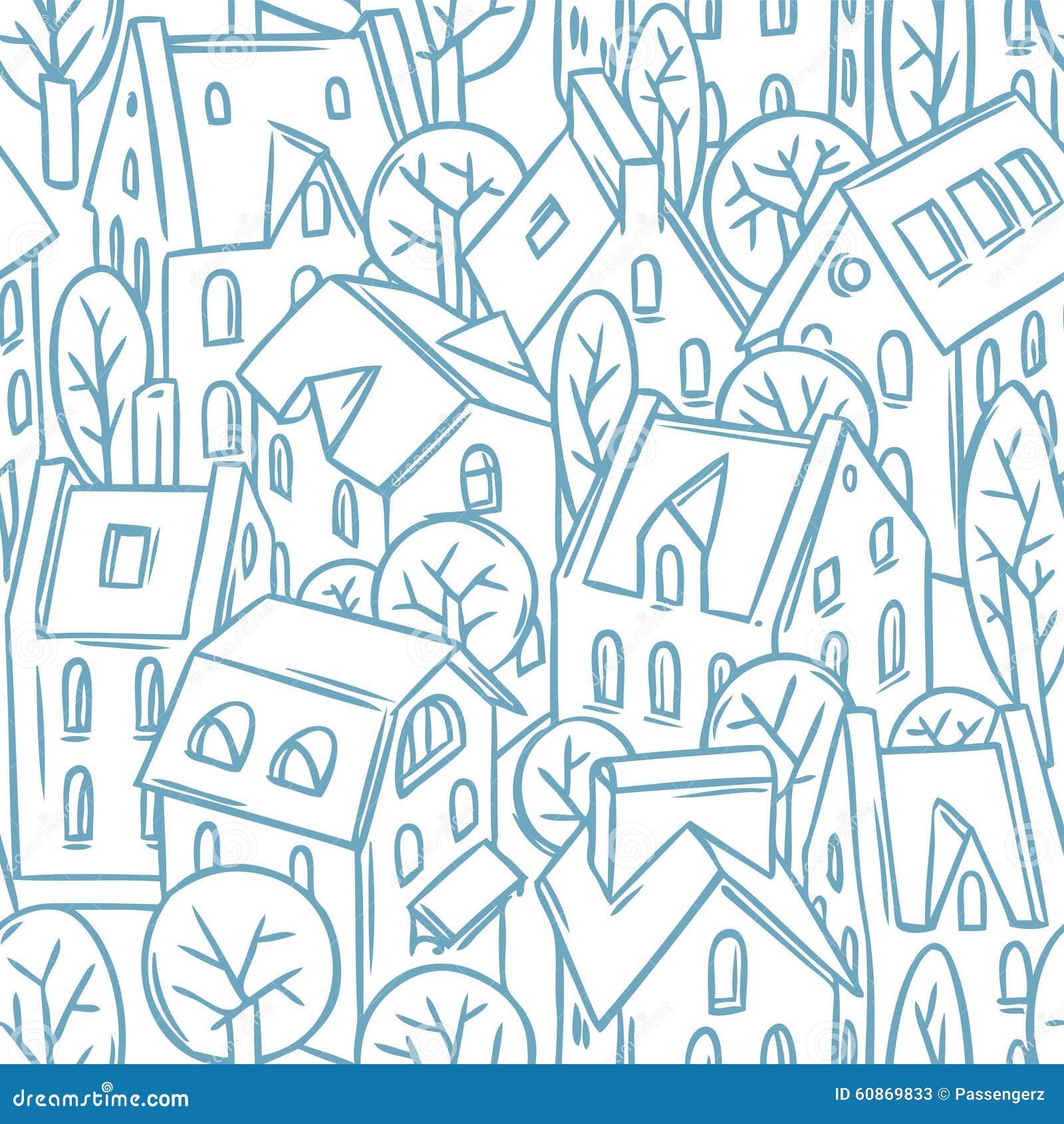 Sömlös modell för stad med tak
