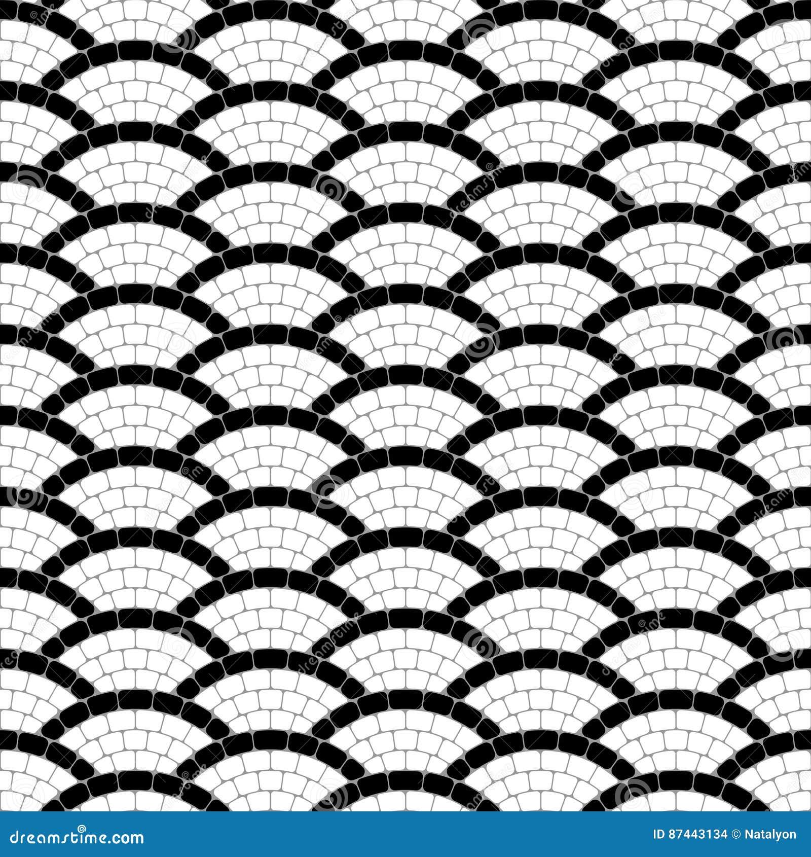 Sömlös modell för svartvit geometrisk mosaik för vågtrottoarsten, vektorbakgrund