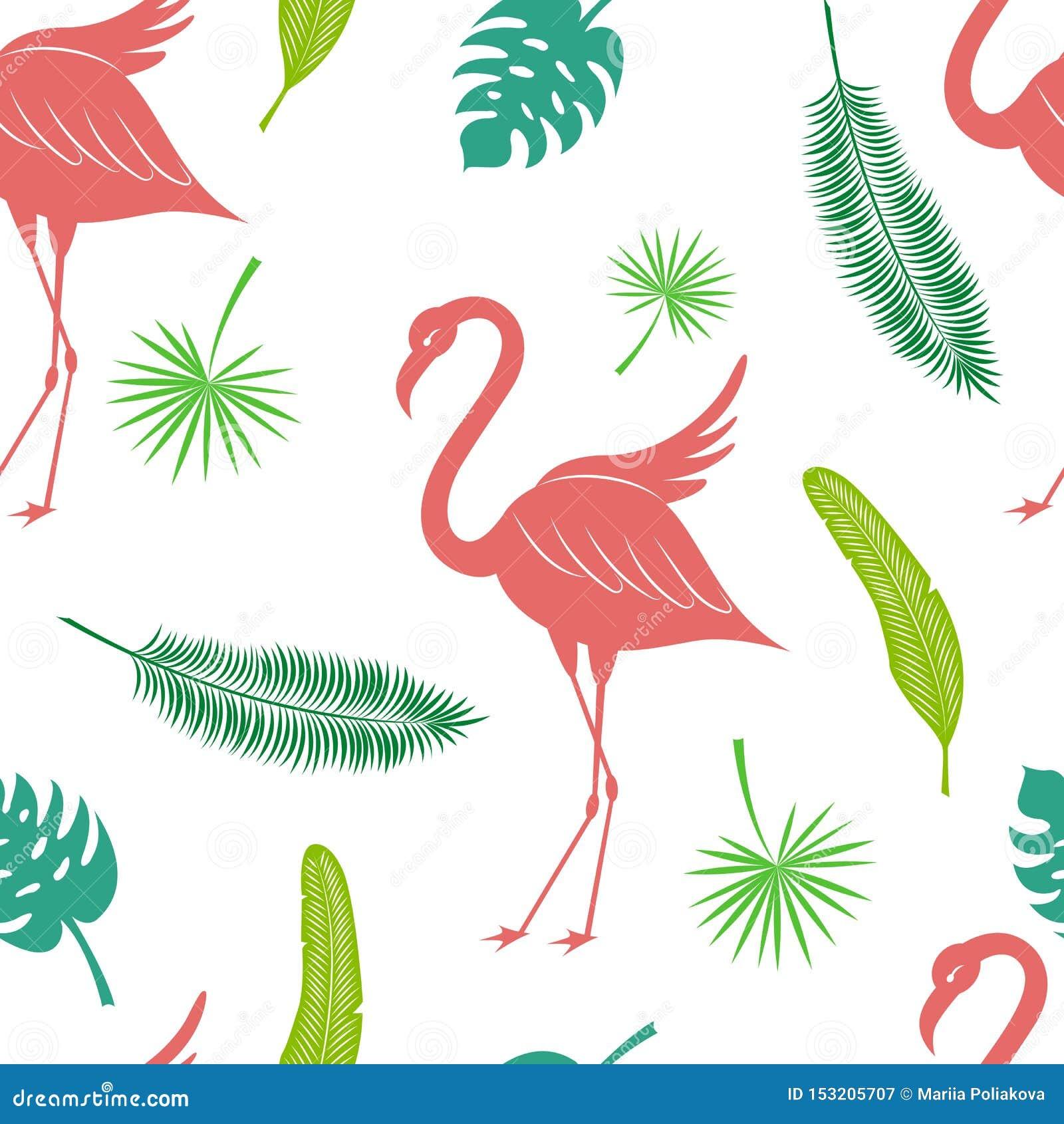 Sömlös modell för tropisk konturvektor Flamingo kokosnötpalmbladet, fan gömma i handflatan och bananbladtextur