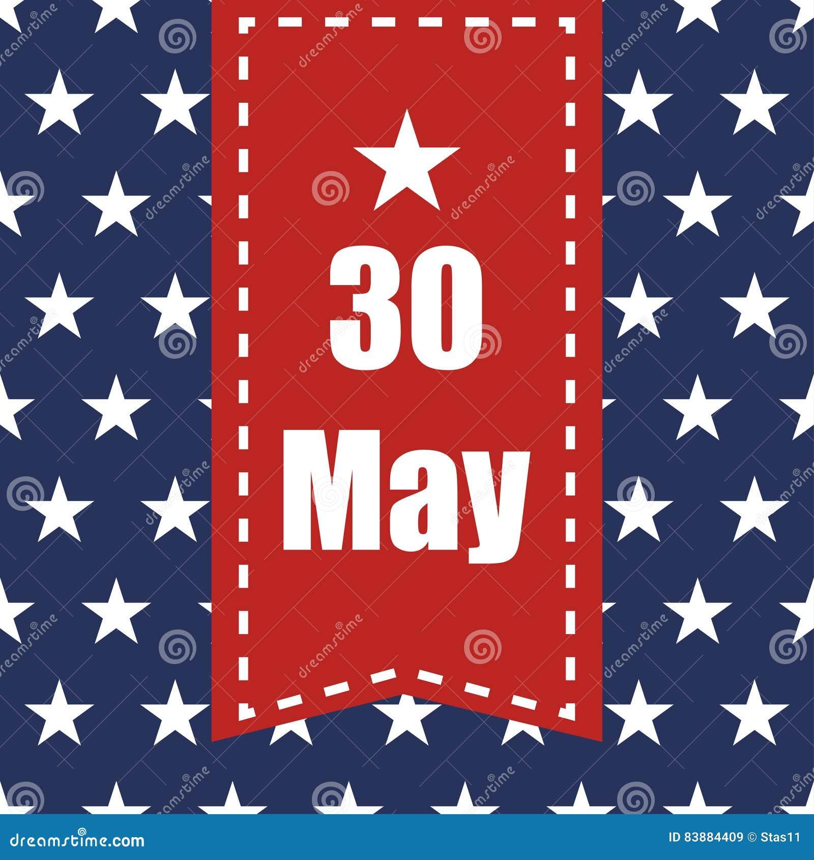 Sömlös modell för USA flagga Vita stjärnor på en blå bakgrund Kan det röda bandet för minnesdagen med datum 30