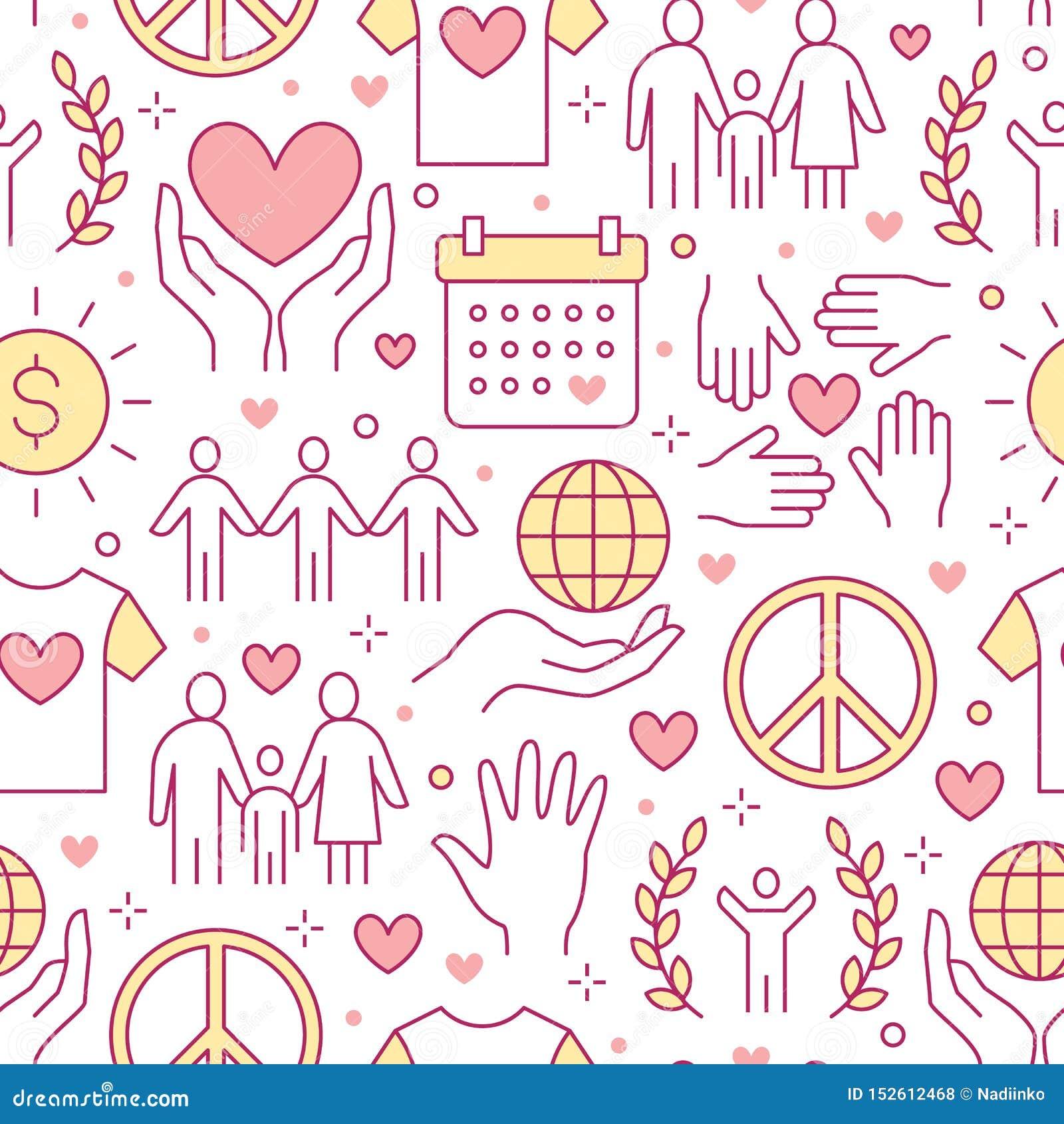 Sömlös modell för välgörenhetvektor med den plana linjen symboler Donation ideell organisation, NGO som ger hjälpillustrationer