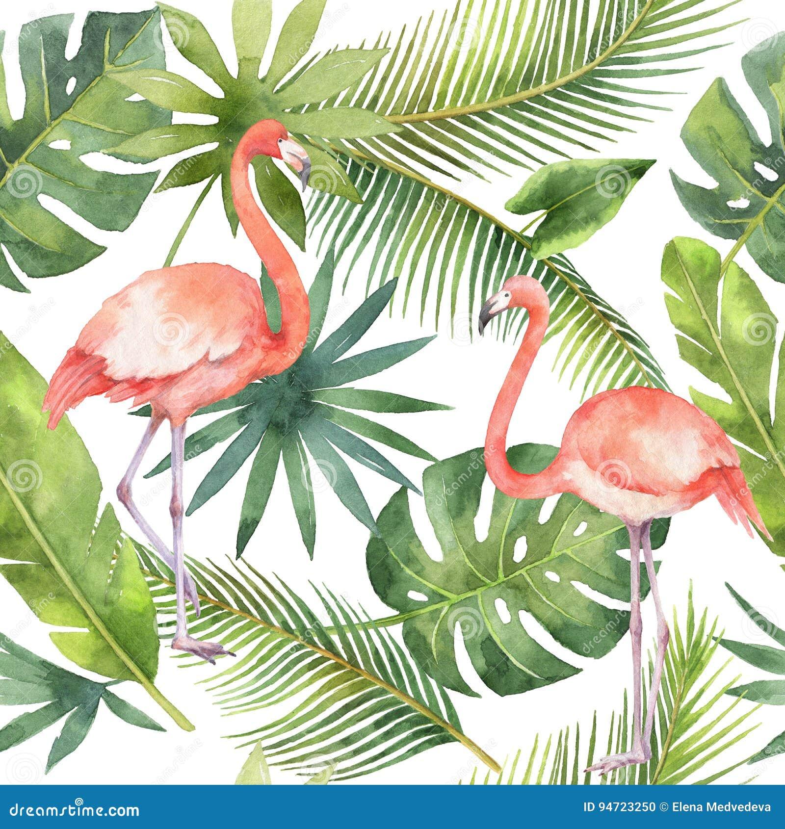 Sömlös modell för vattenfärg av flamingo och palmträd som isoleras på vit bakgrund