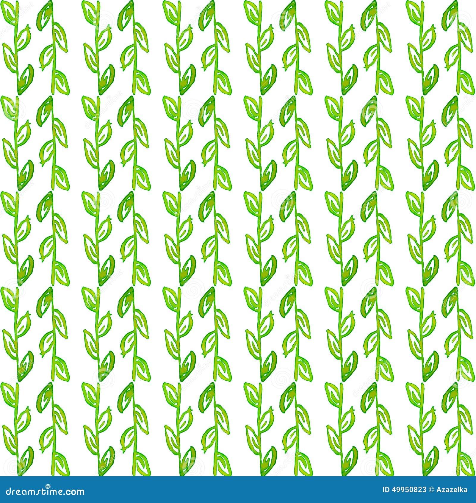 Sömlös modell för vattenfärg Enkel dragen bakgrund för vår hand Gröna blad och filialer Eps-vektor im