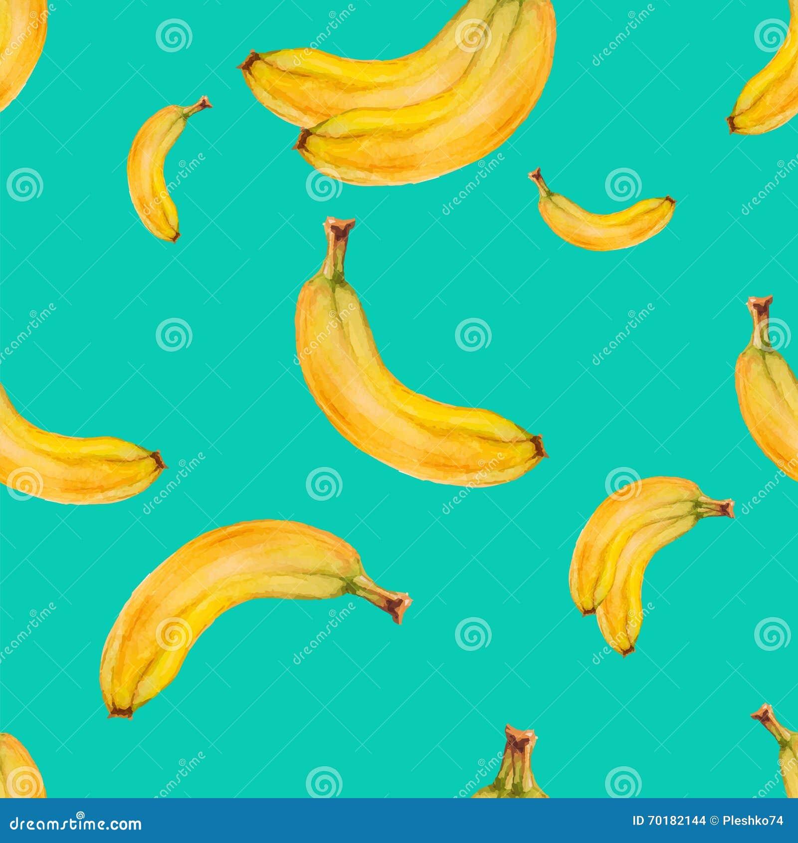 Sömlös modell för vattenfärg med bananer på turkosbakgrund