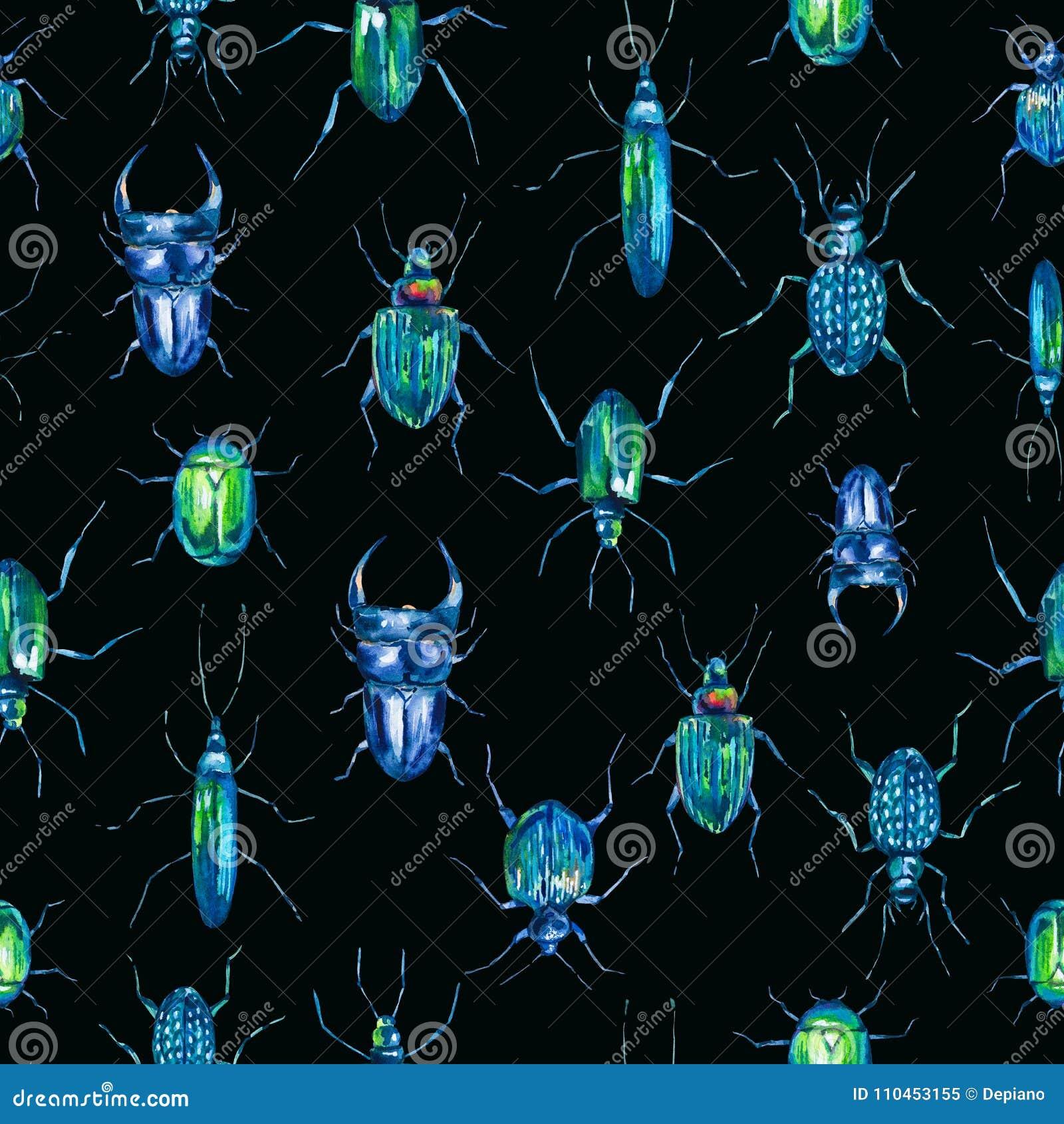 Sömlös modell för vattenfärg med gröna skalbaggar