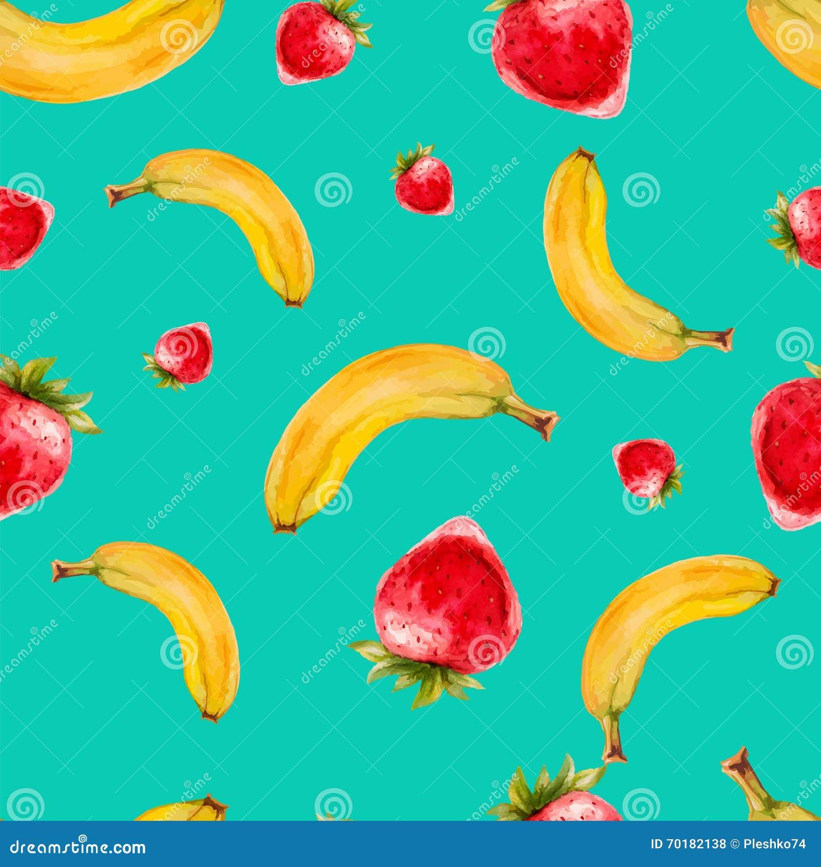 Sömlös modell för vattenfärg med jordgubbar och bananer