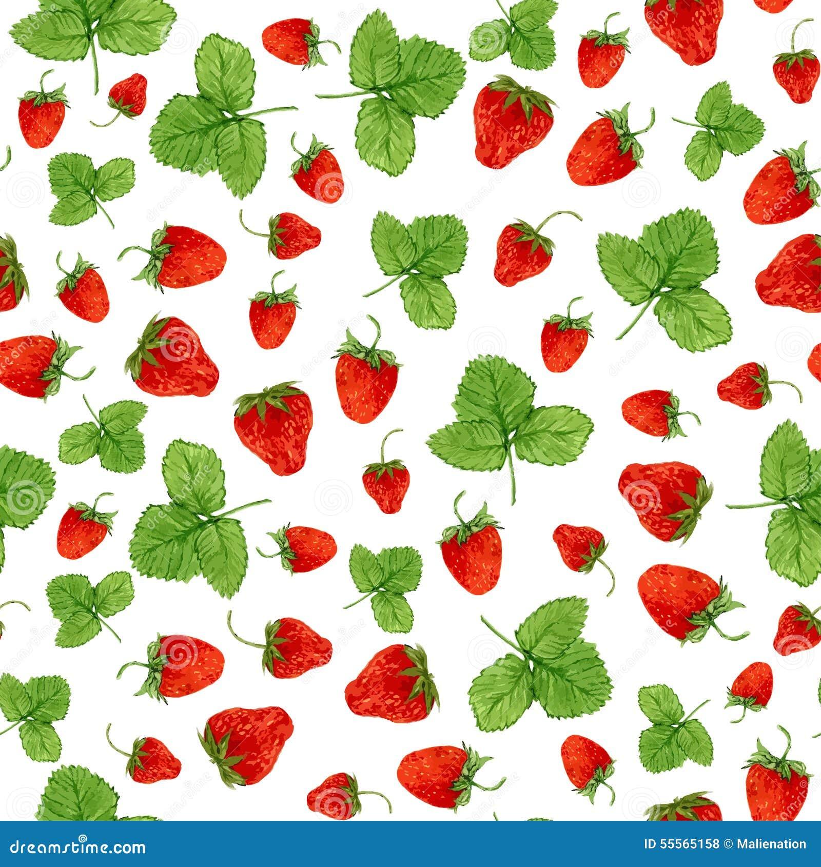 Sömlös modell för vattenfärg med jordgubbar och sidor på den vita bakgrunden Hand dragen illustration för ecoprodukt D