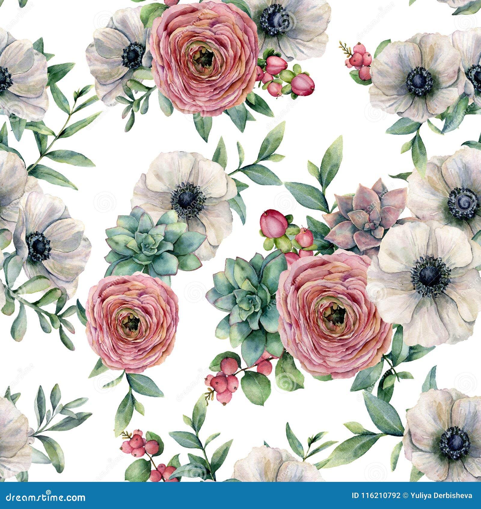Sömlös modell för vattenfärg med suckulenten, ranunculus, anemon Den målade handen blommar, eucaliptussidor och suckulenten