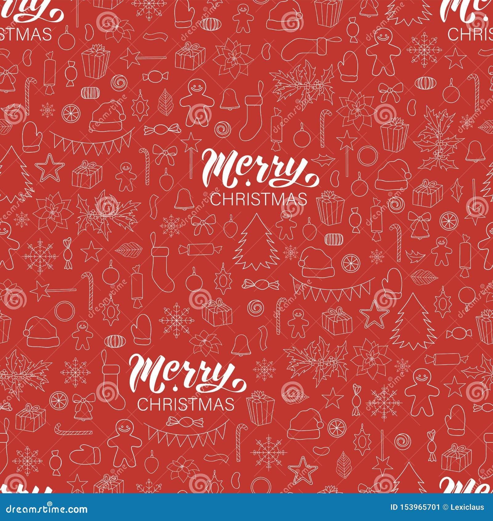 Sömlös modell för vektor av beståndsdelar för vit jul eller för nytt år på röd bakgrund