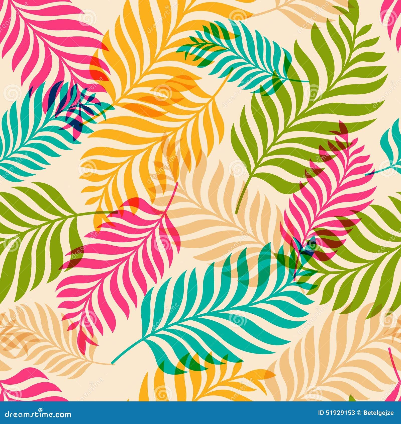 Sömlös modell för vektor av färgrika palmträdsidor Naturorg