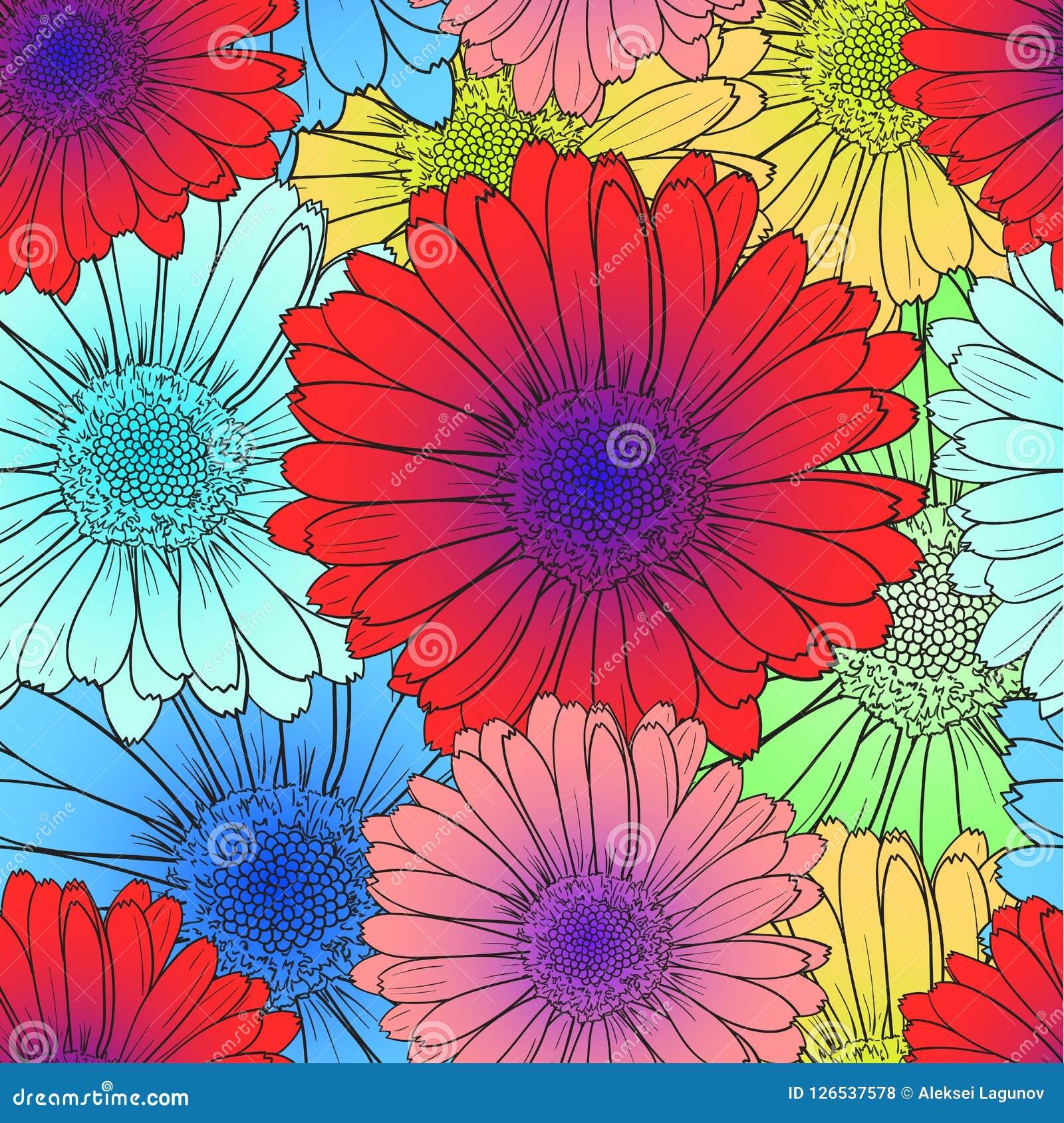 Sömlös modell för vektor: Ljusa kulöra blommor som är röda, blåttblommablom