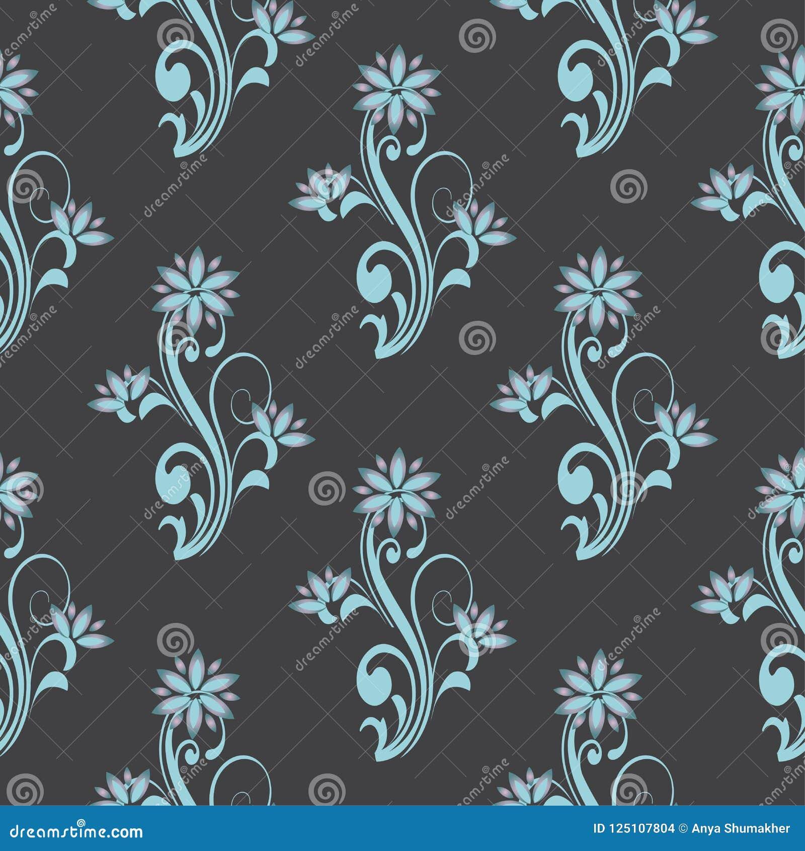 Sömlös modell för vektor med dekorativa prydnader för blom- kurva Den stilfulla blommatemabakgrunden för textiler och någon annan