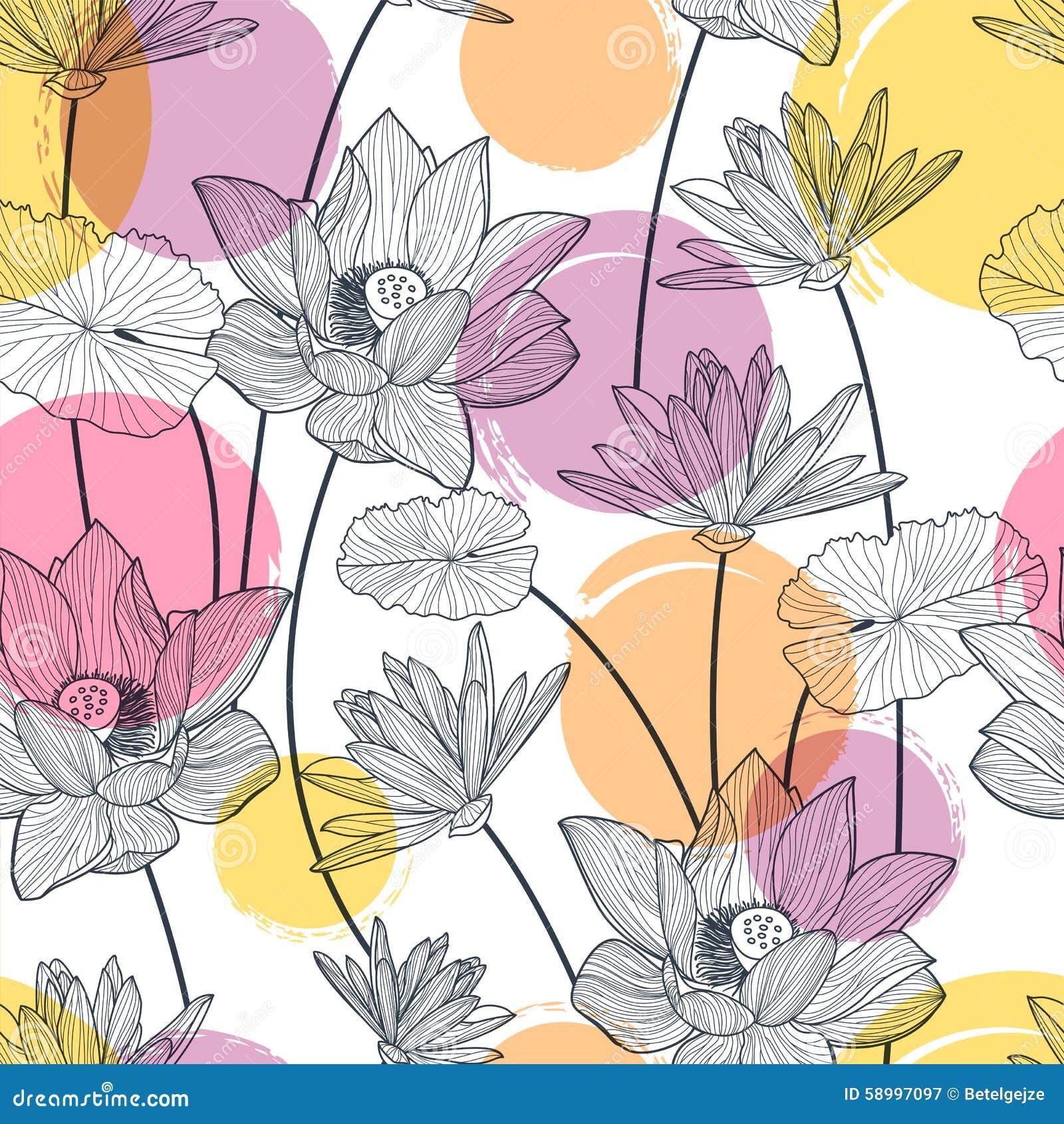 Sömlös modell för vektor med den härliga lotusblommablomman och färgrikt