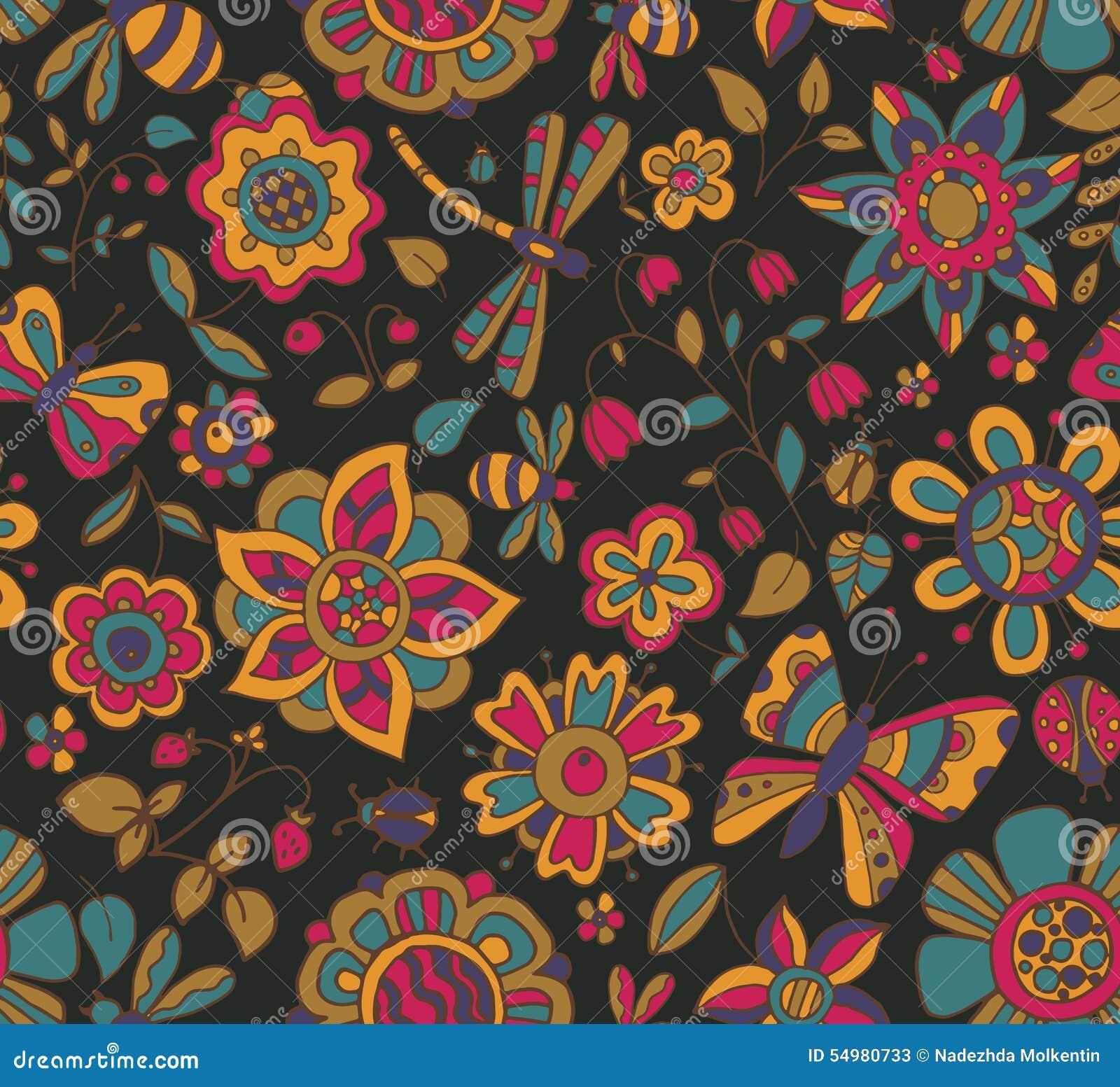 Sömlös modell för vektor med härliga färgrika blommor