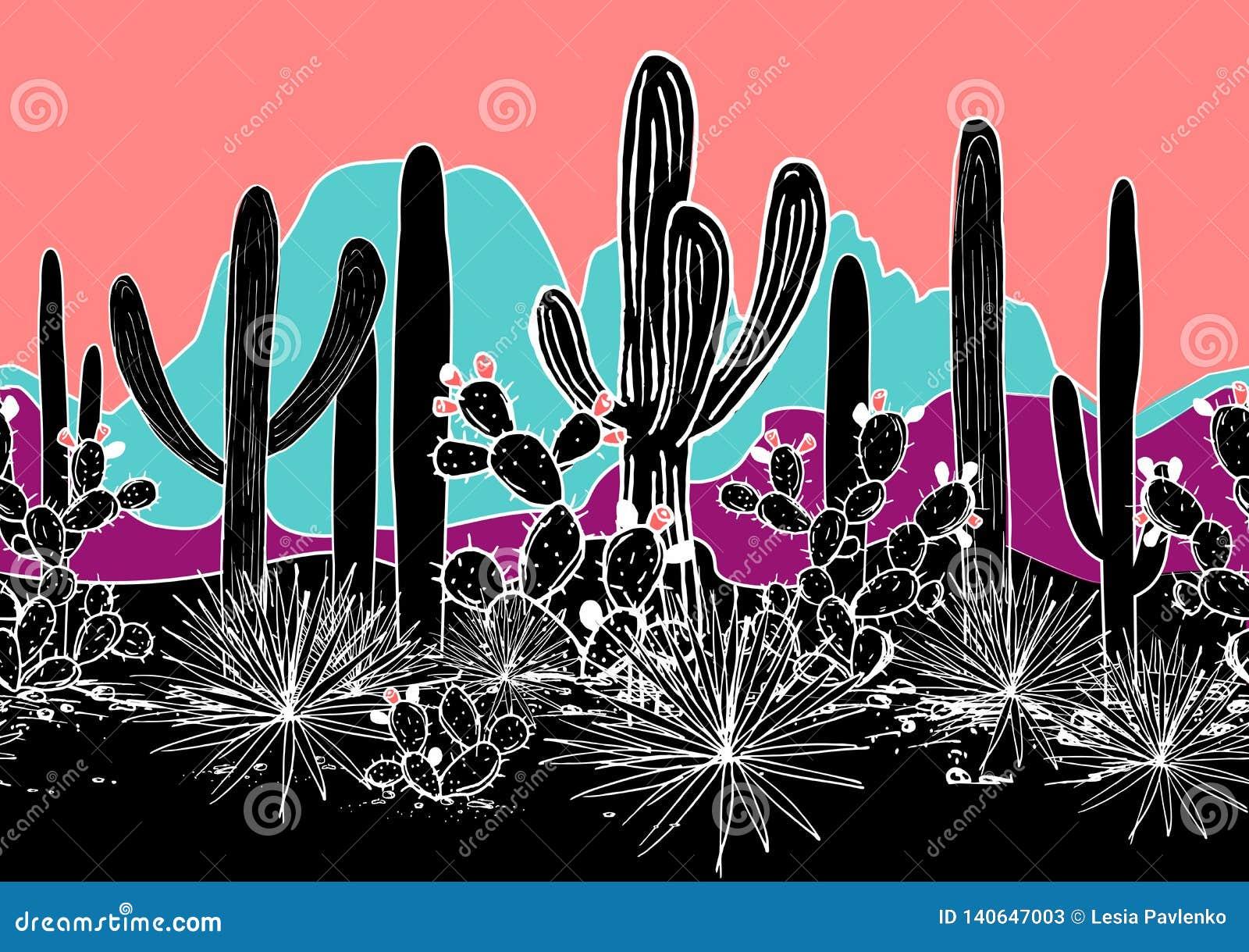 Sömlös modell för vektor med kakturs och berg Lös kaktusskog med agave, saguaroen och det taggiga päronet brigham