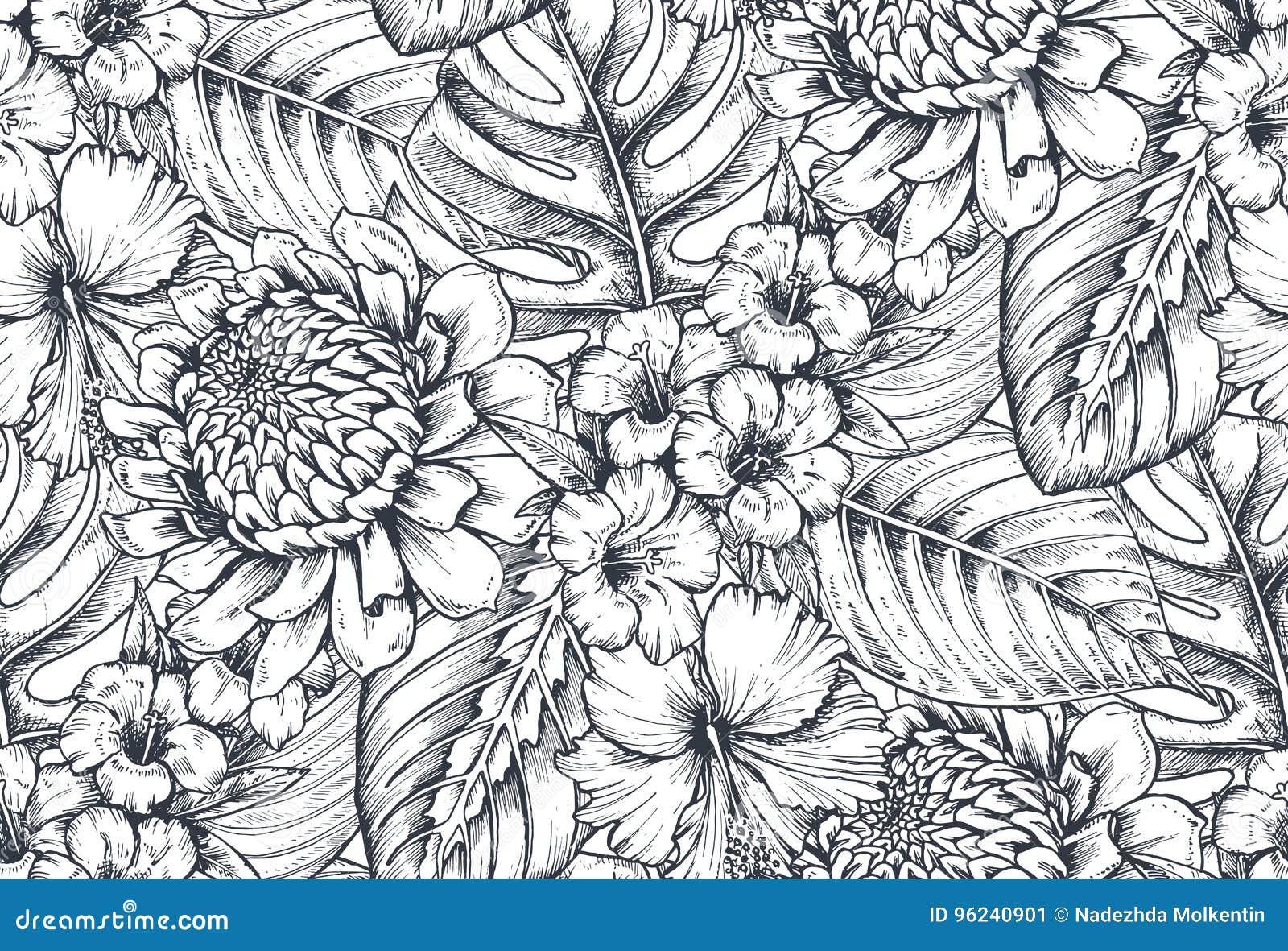 Sömlös modell för vektor med sammansättningar av hand drog tropiska blommor och växter