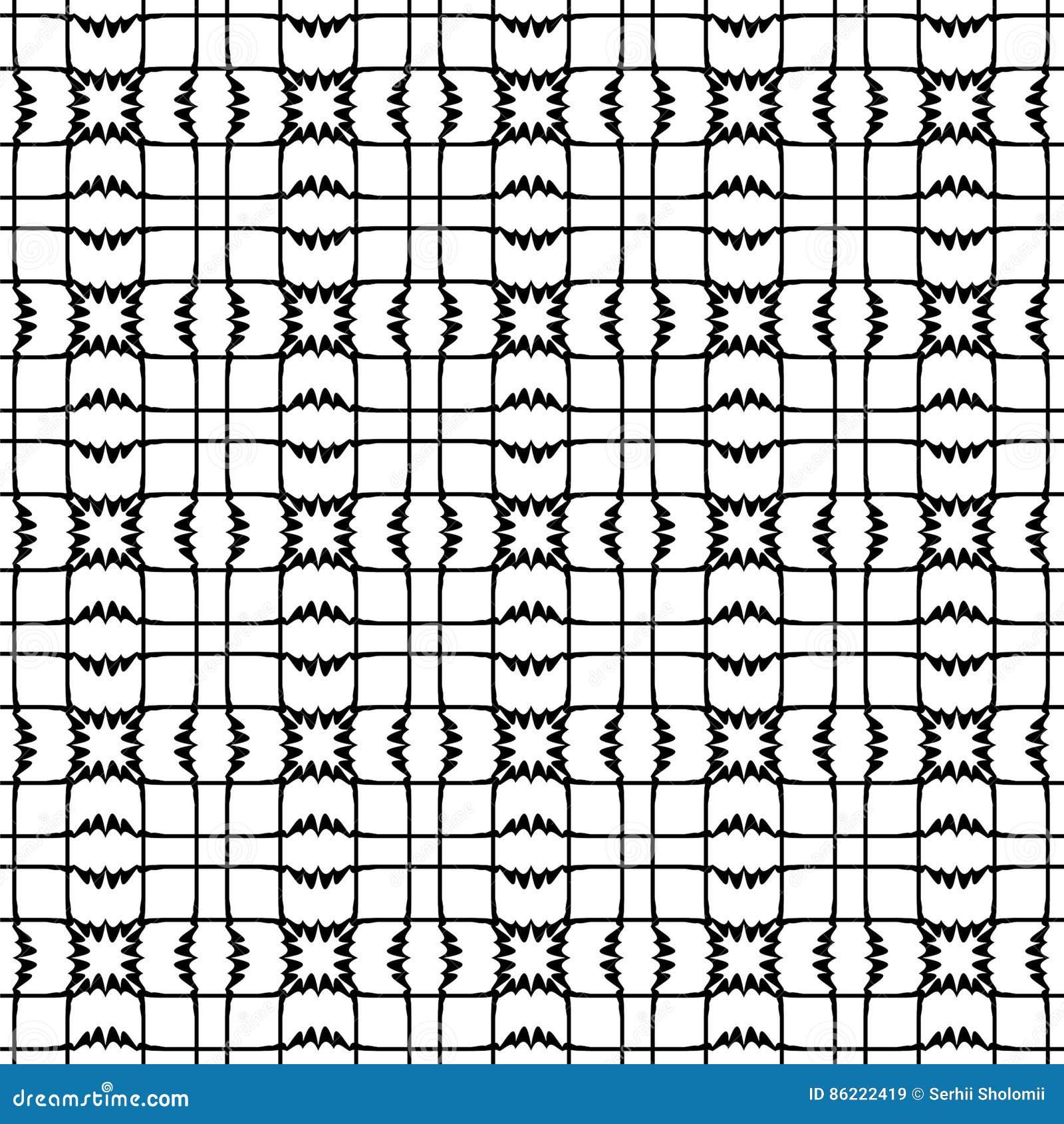 Sömlös modell för vektor, svartvita geometriska diagram Abstrakt repetitionmonokrombakgrund