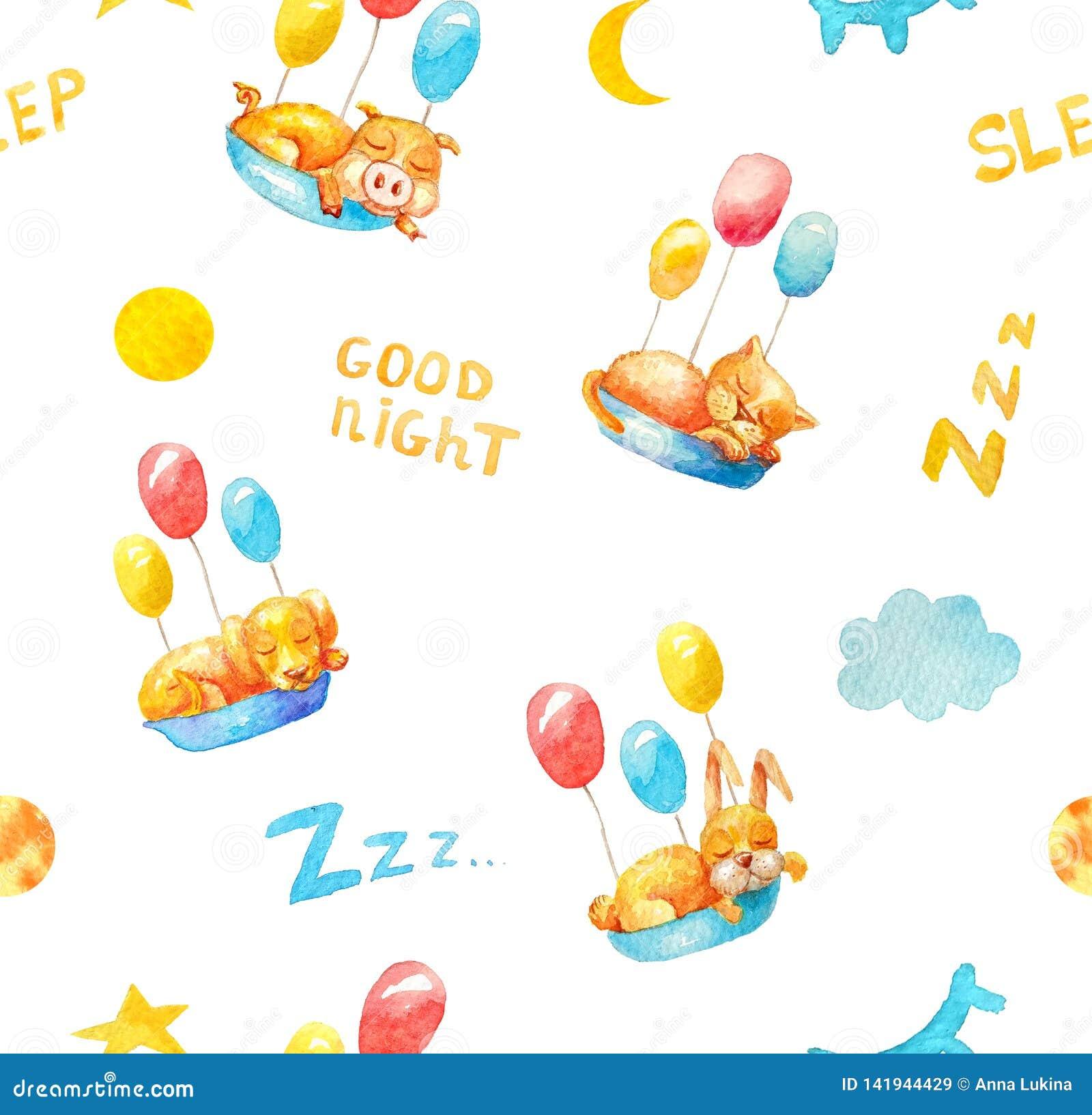 Sömlös modell i den vita bakgrunden som sover djur spädgris, kattunge, valp, kanin med färgrika ballonger
