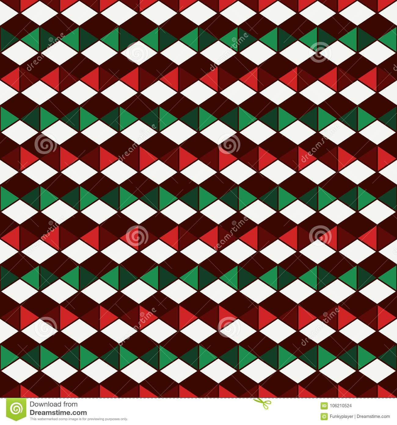 Sömlös modell i traditionella färger för jul med polygontessellation Geometriskt digitalt papper