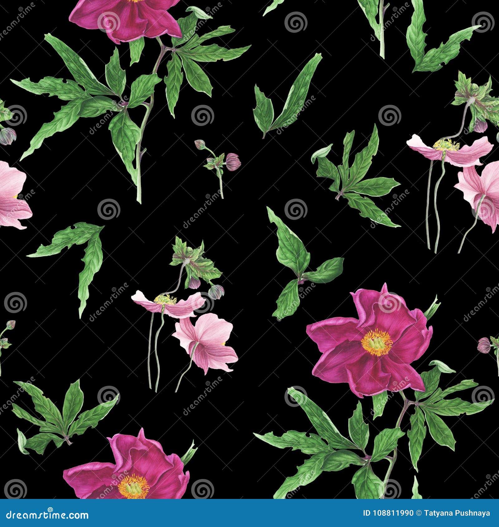 Sömlös modell med blommor och sidor av den rosa pionen och anemoner, vattenfärgmålning