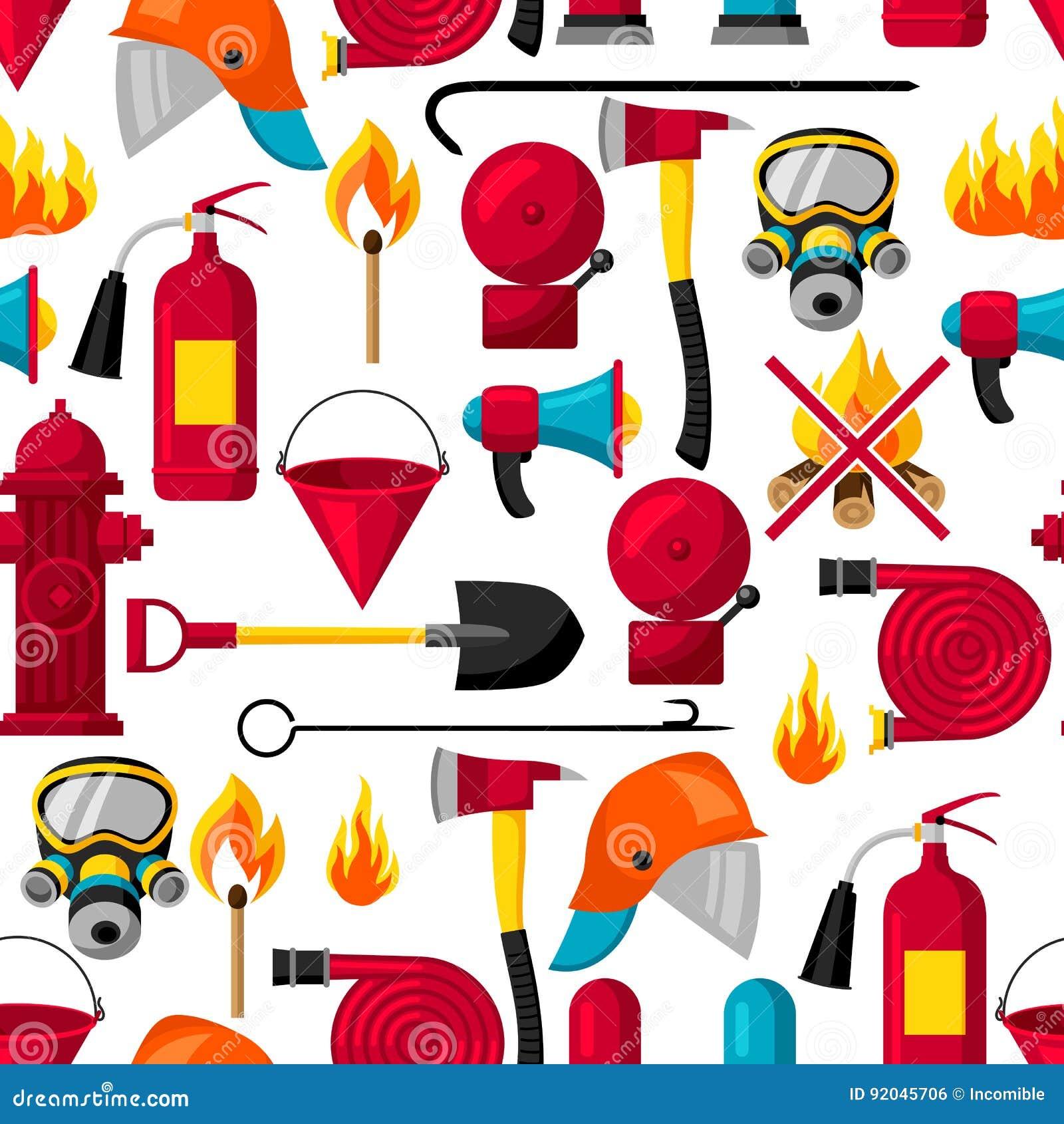 Sömlös modell med brandbekämpningobjekt Utrustning för brandskydd