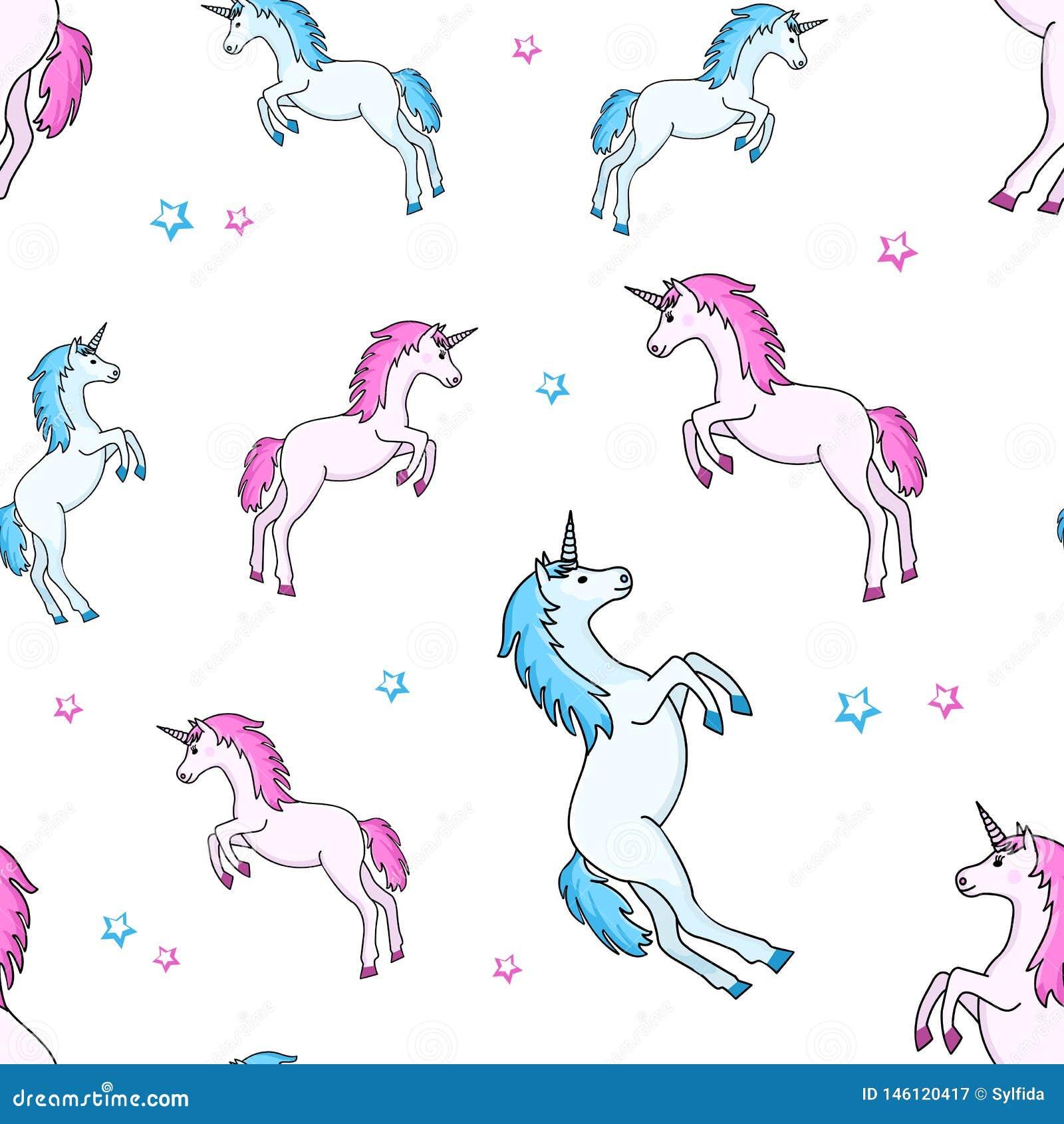 Sömlös modell med den blåa rosa enhörningen och stjärnor ocks? vektor f?r coreldrawillustration