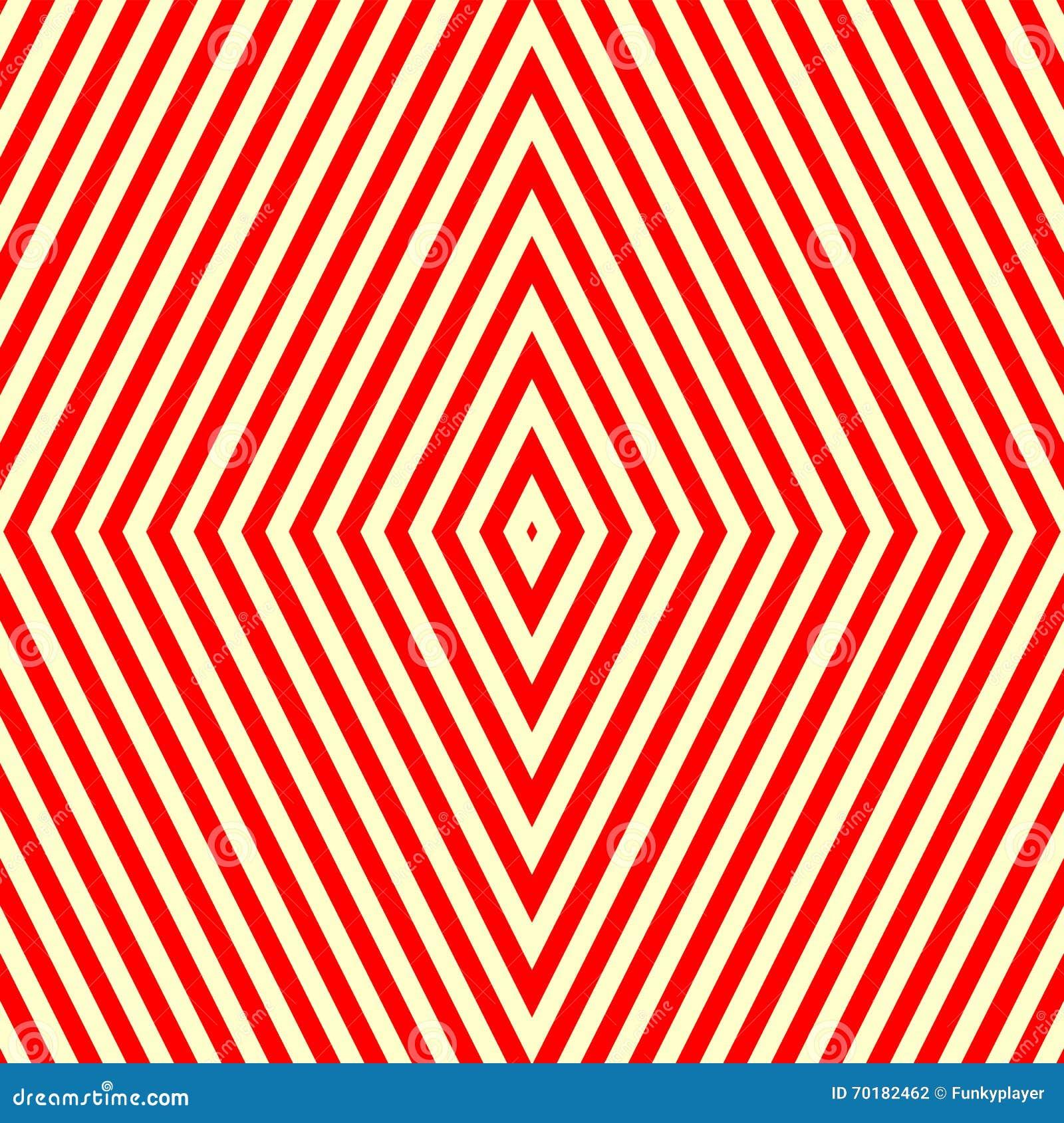 Sömlös modell med den symmetriska geometriska prydnaden Randig röd vitabstrakt begreppbakgrund