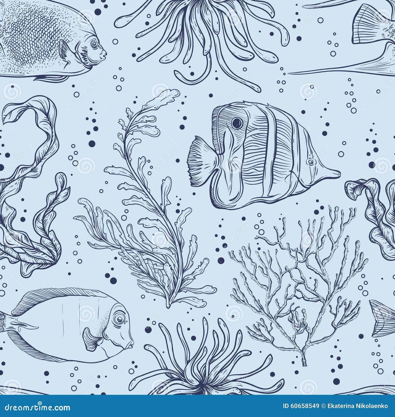 Sömlös modell med den tropiska fisken, flottaväxter och havsväxt För vektorillustration för tappning hand dragit marin- liv