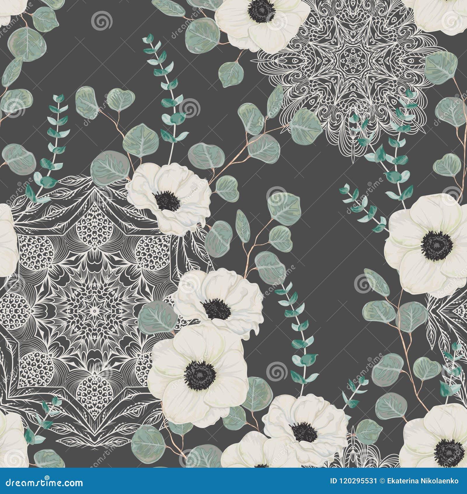 Sömlös modell med den vita anemonen, eukalyptus och med den utsmyckade mandalaen Blom- bakgrund med snör åt prydnaden