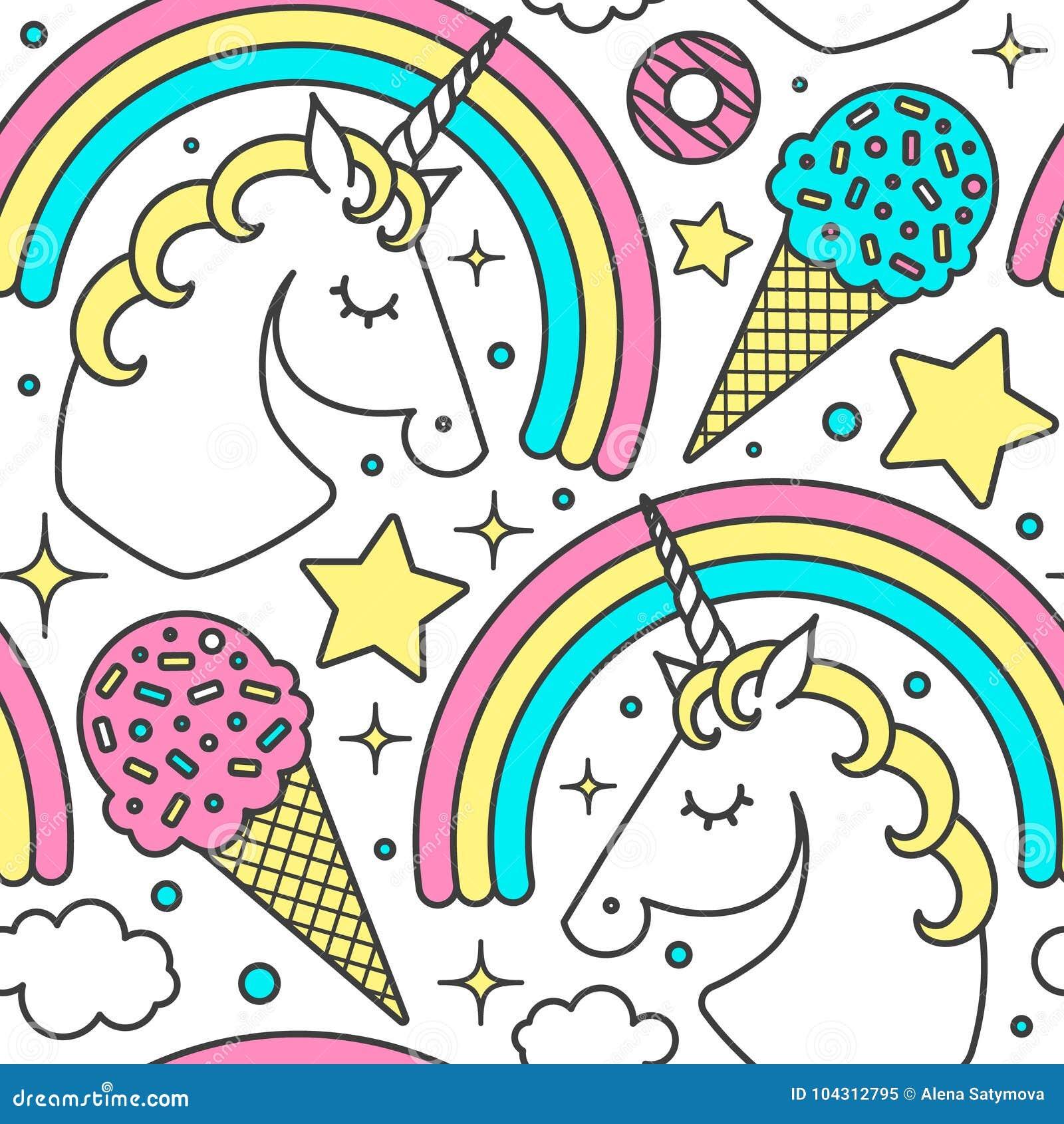 Sömlös modell med enhörningen, regnbåge, moln, stjärnor, glass, donuts Tecken för vektortecknad filmstil Isolerat på vit