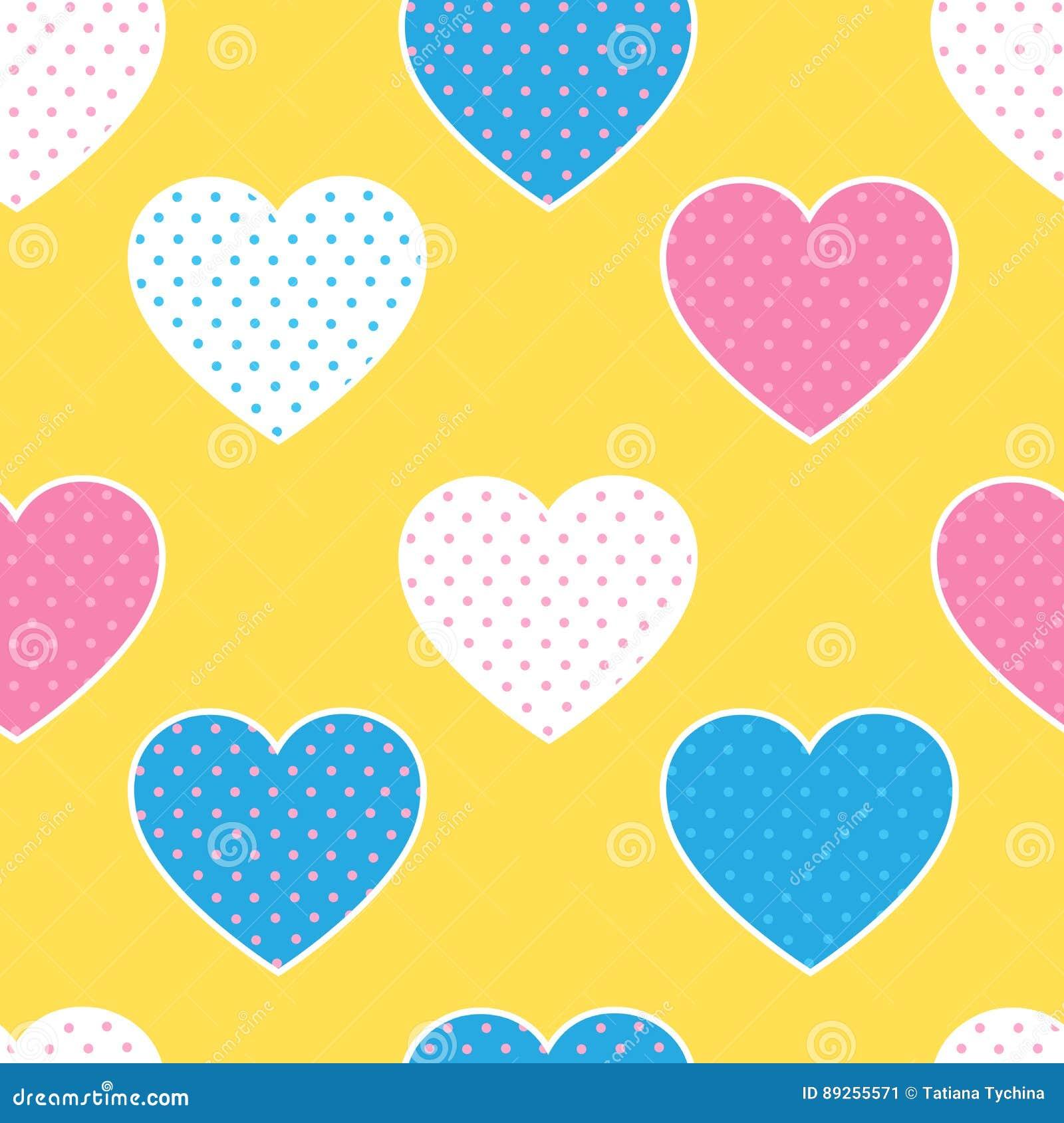 Sömlös modell med färgrika hjärtakonturer på guling tillbaka