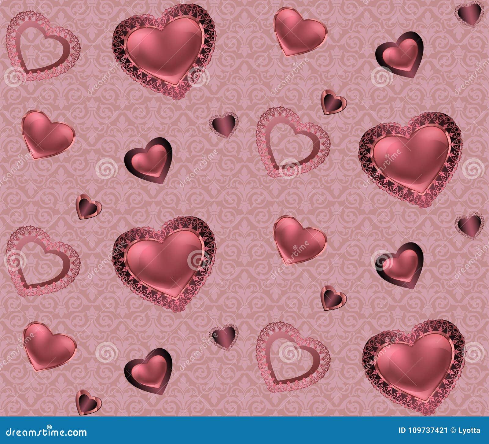 Sömlös modell med hjärtor och prydnad på en rosa och röd bakgrund med blommaromantikervalentin