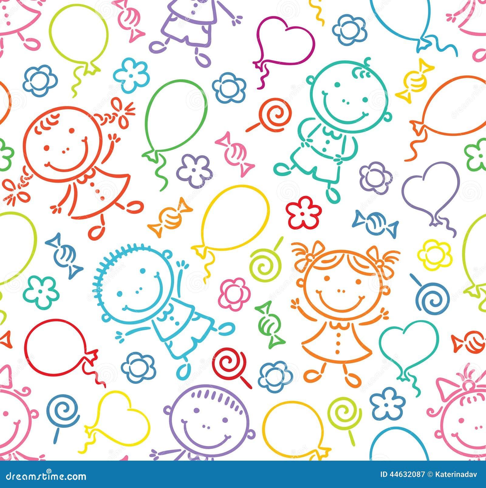Sömlös modell med lyckliga ungar, ballonger, sötsaker och blommor