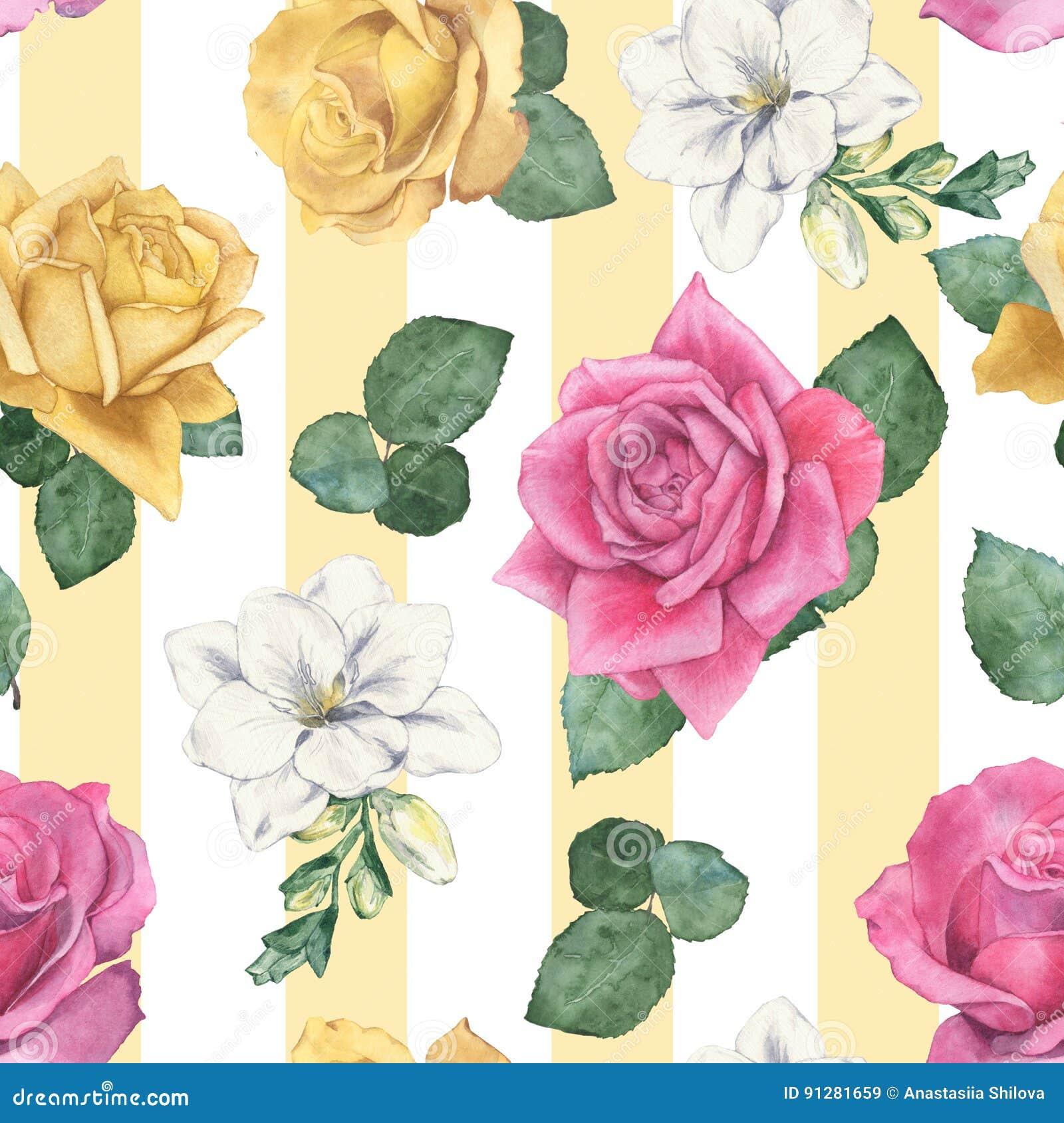 Sömlös modell med olika blom- växter 2