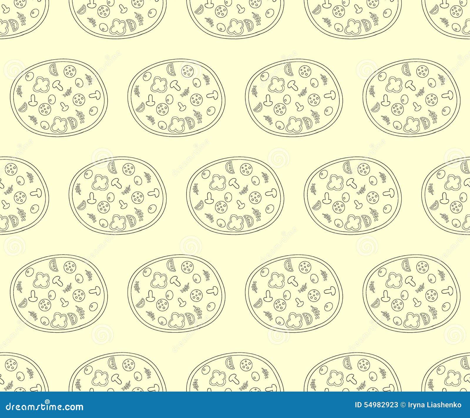 Sömlös modell med pizza i retro färg