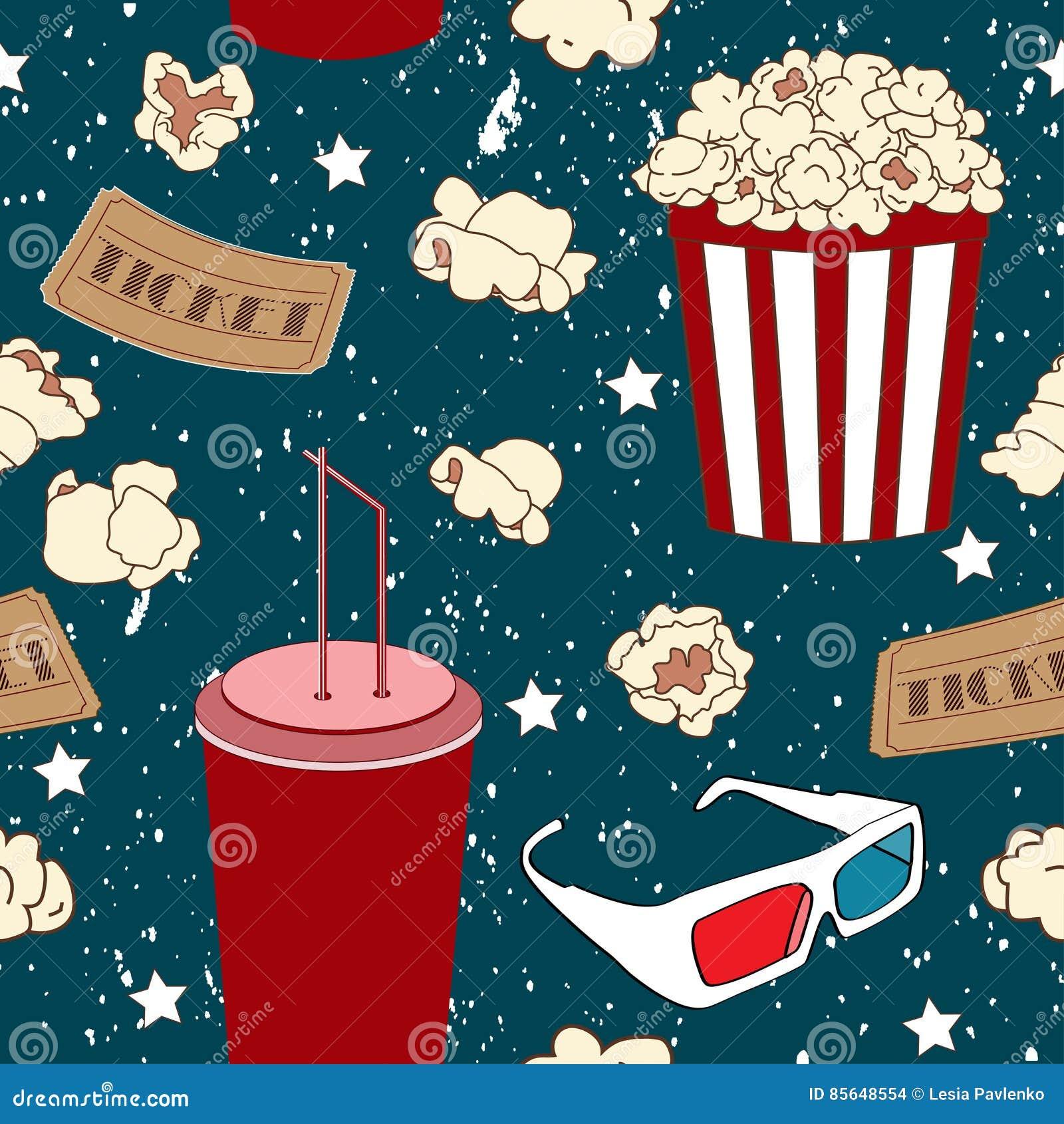 Sömlös modell med popcorn, sodavatten och exponeringsglas 3D Filmbakgrund