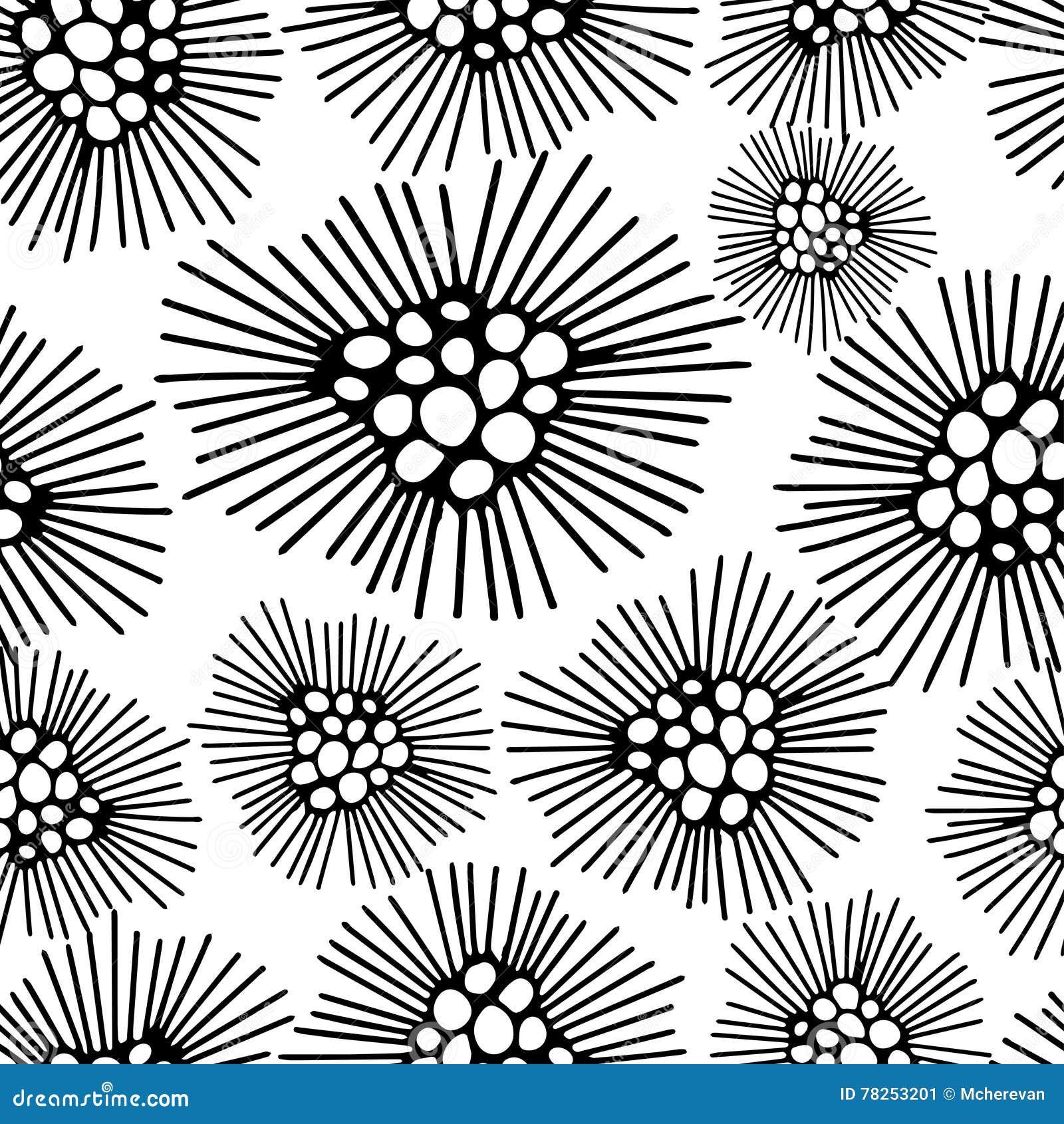Sömlös modell med svartvit blommabakgrund också vektor för coreldrawillustration