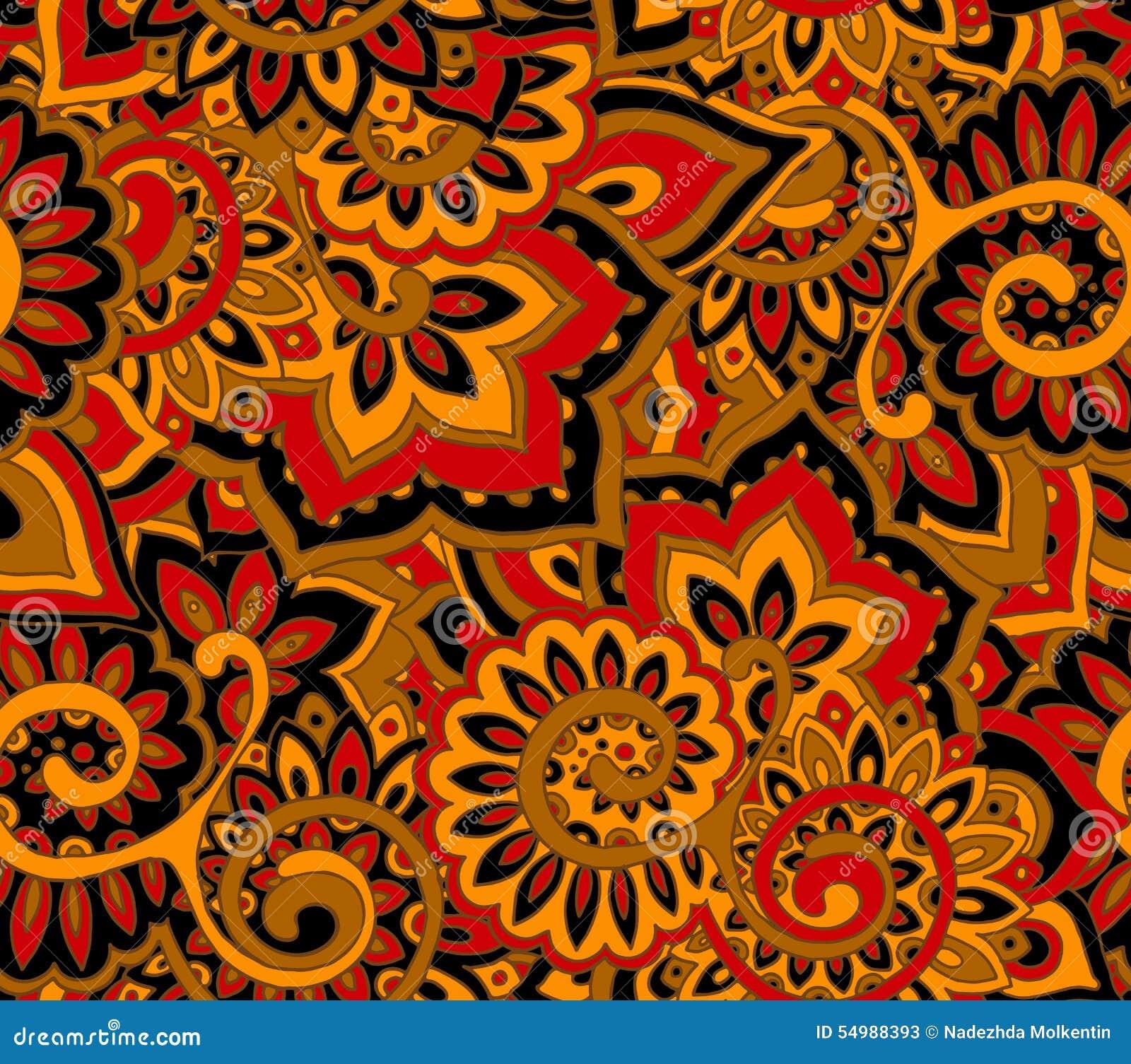 Sömlös modell med traditionella orientaliska blom- ornamen