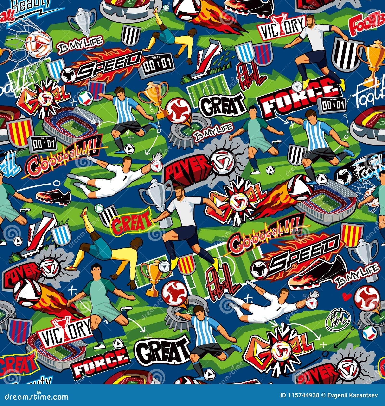 Sömlös modell på temat av fotboll Fotbollattribut, fotbolldiagram av olika lag på en blå bakgrund