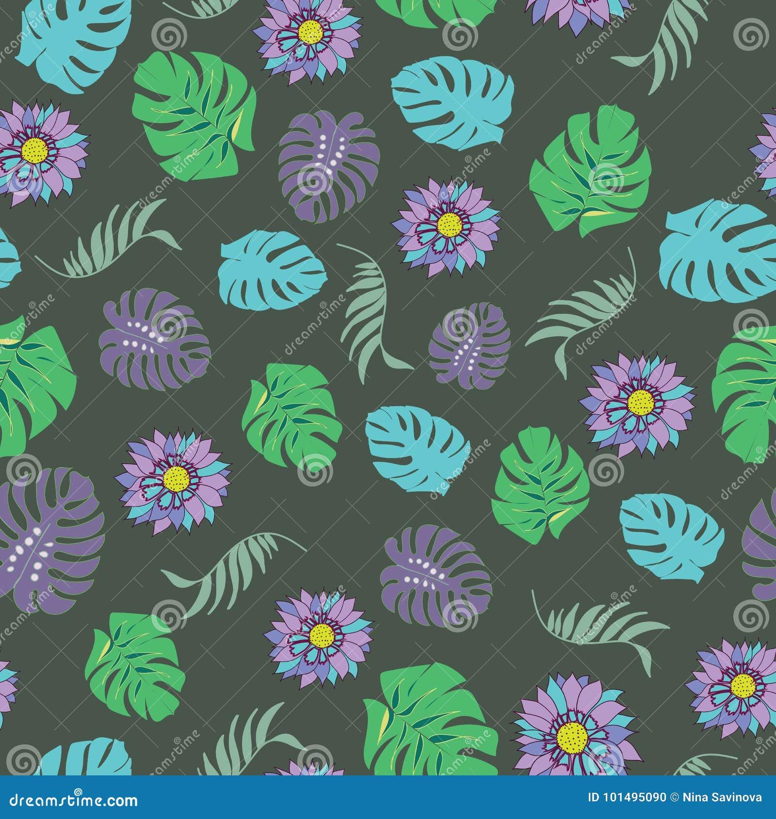 Sömlös modellvektor för härliga och färgrika tropiska blommor
