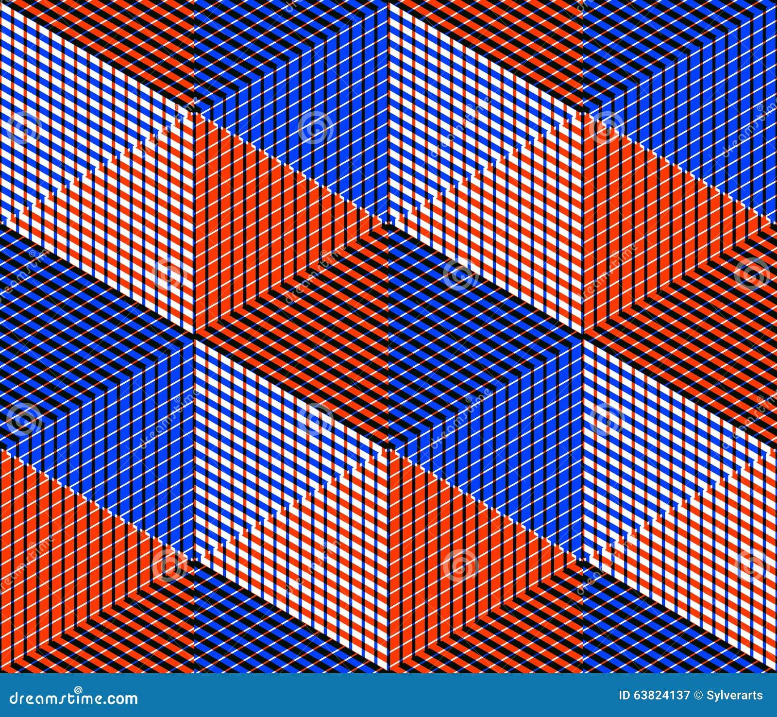 Sömlös optisk dekorativ modell med tredimensionell geome
