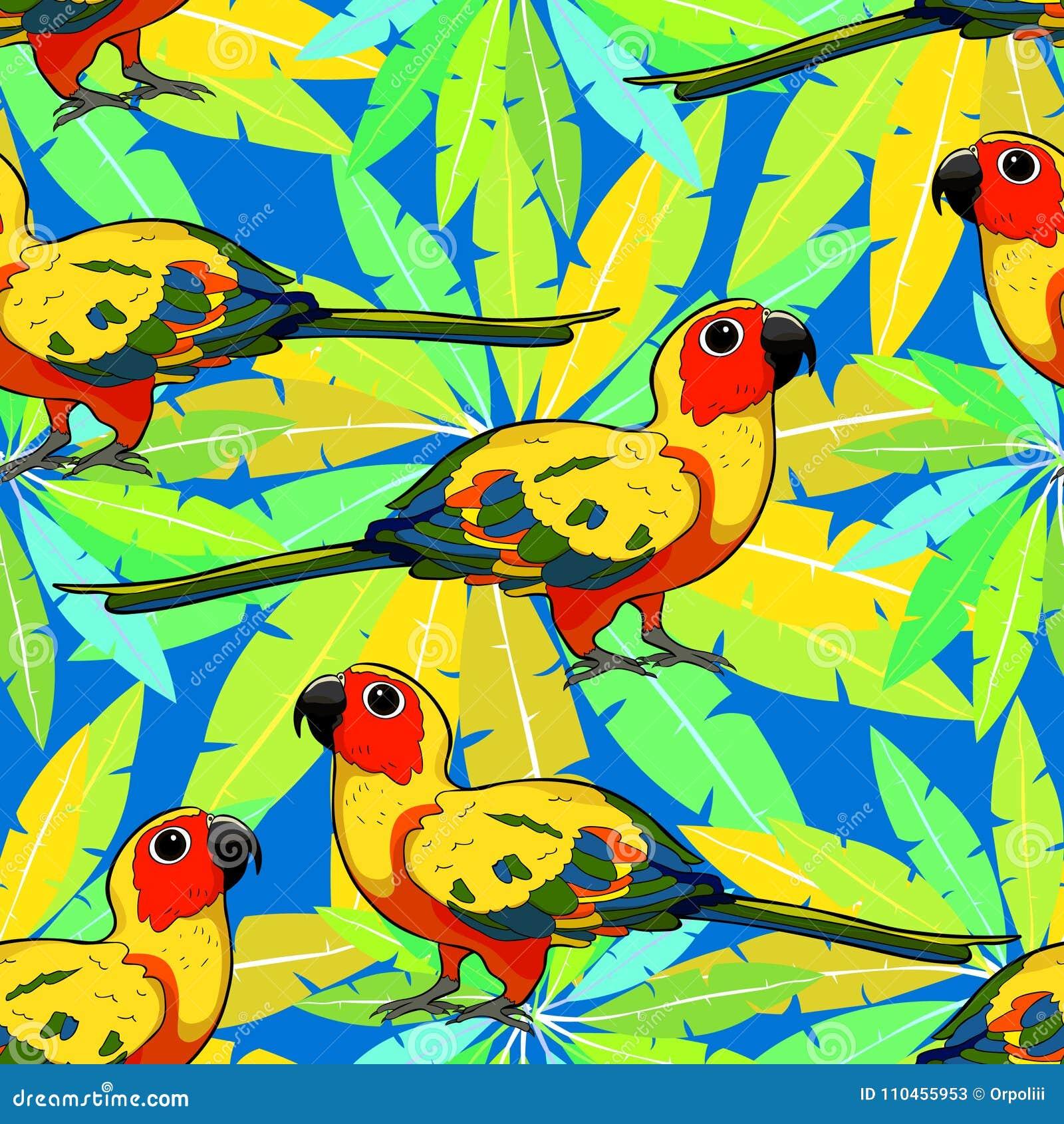 Sömlös papegoja Brasilien för modellsolparakiter Vektor Illustratio